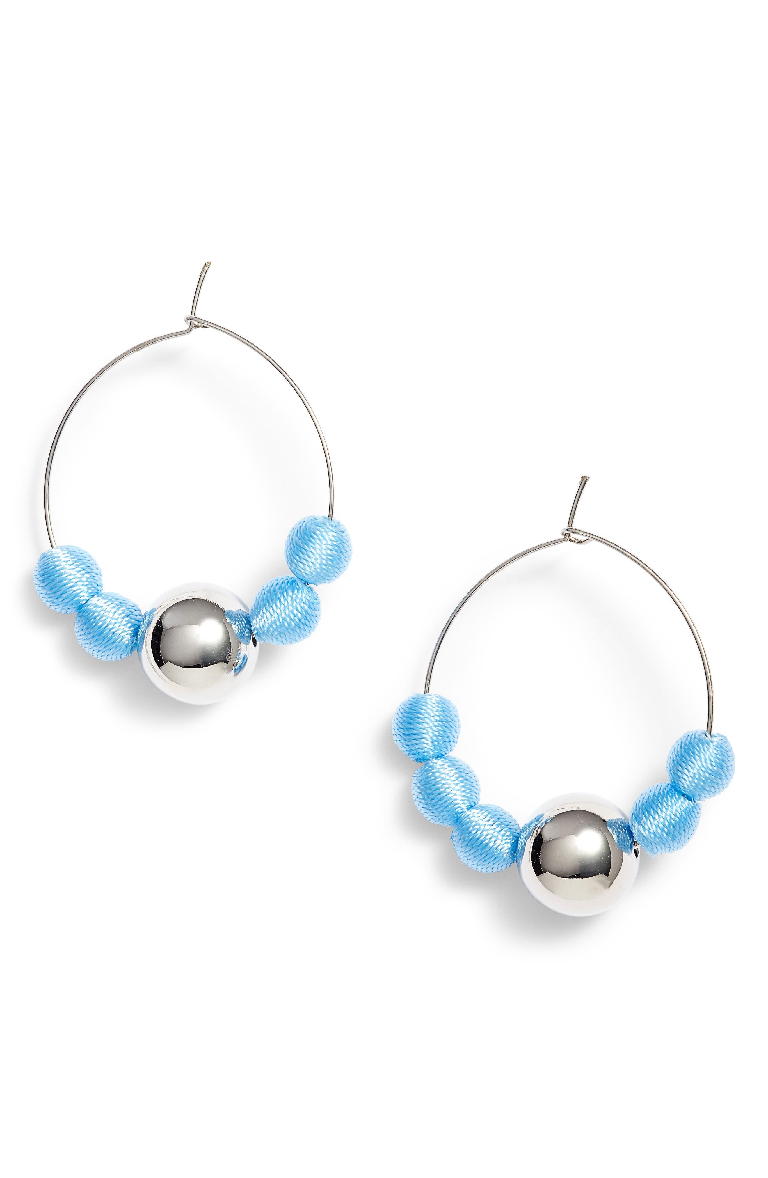 Threaded Sphere Hoop Earrings,                         Main,                         color, Blue/ Silver