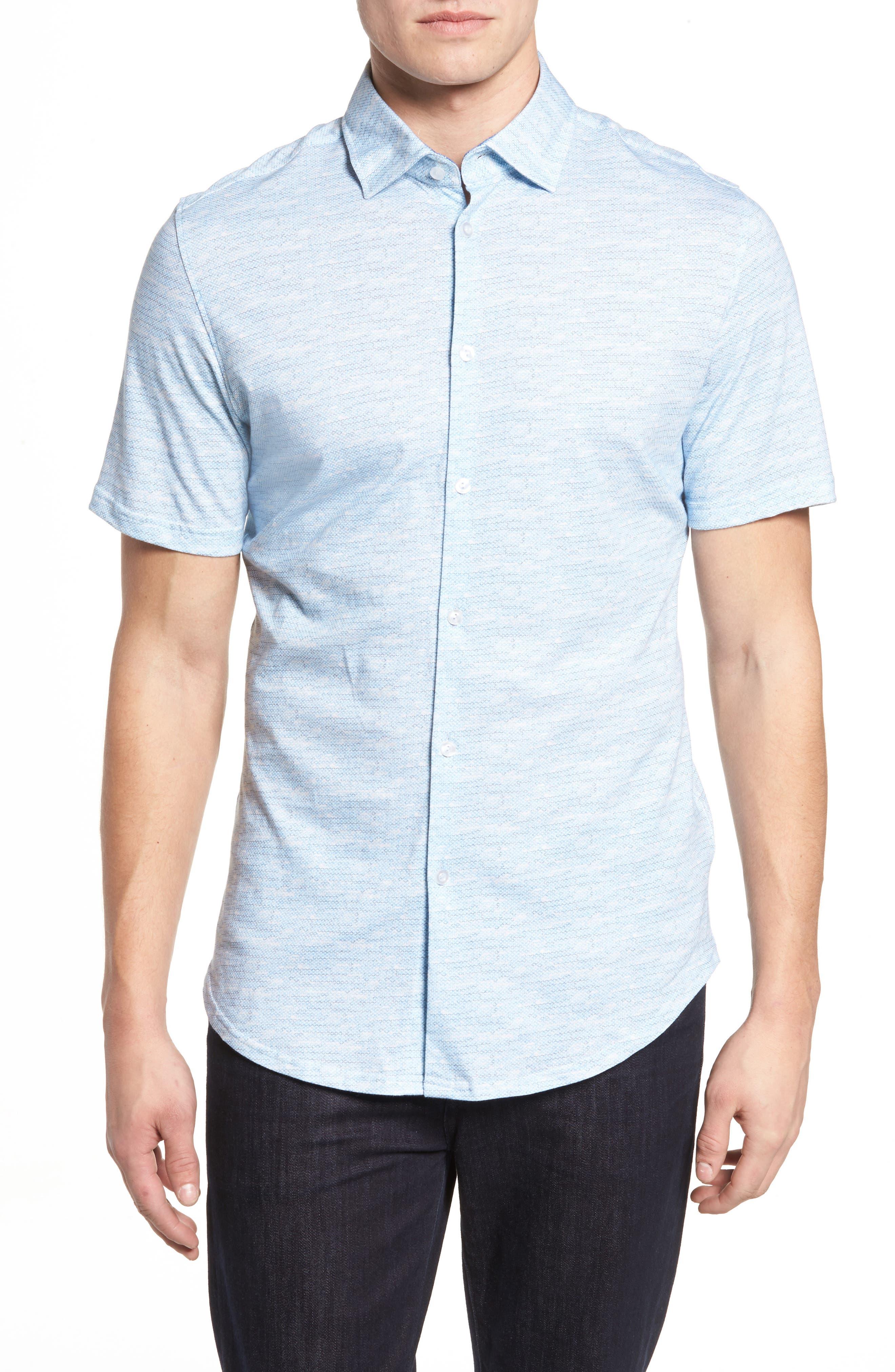 Trim Fit Mélange Sport Shirt,                         Main,                         color, Blue