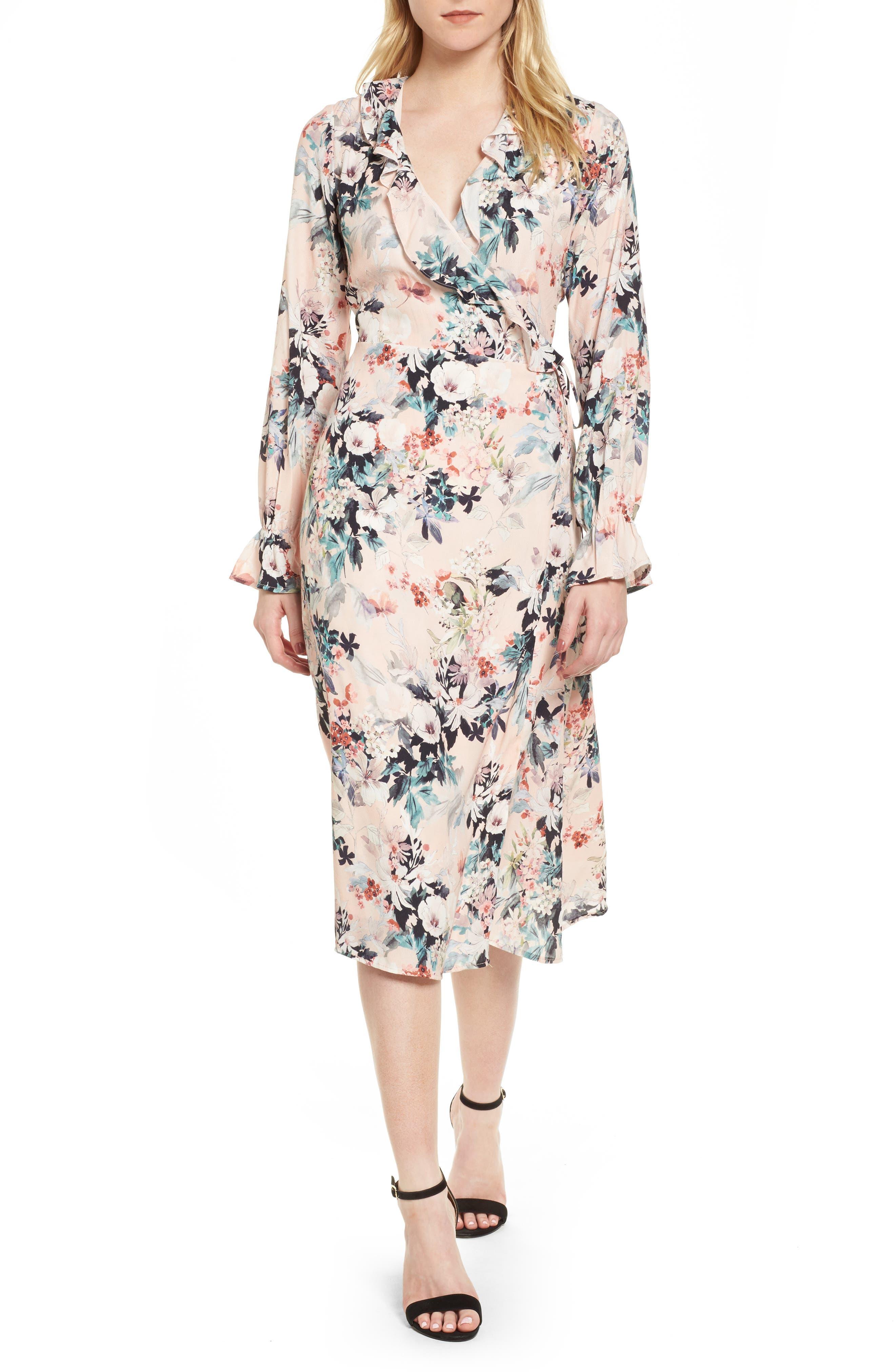 Midi Wrap Dress,                         Main,                         color, Blush