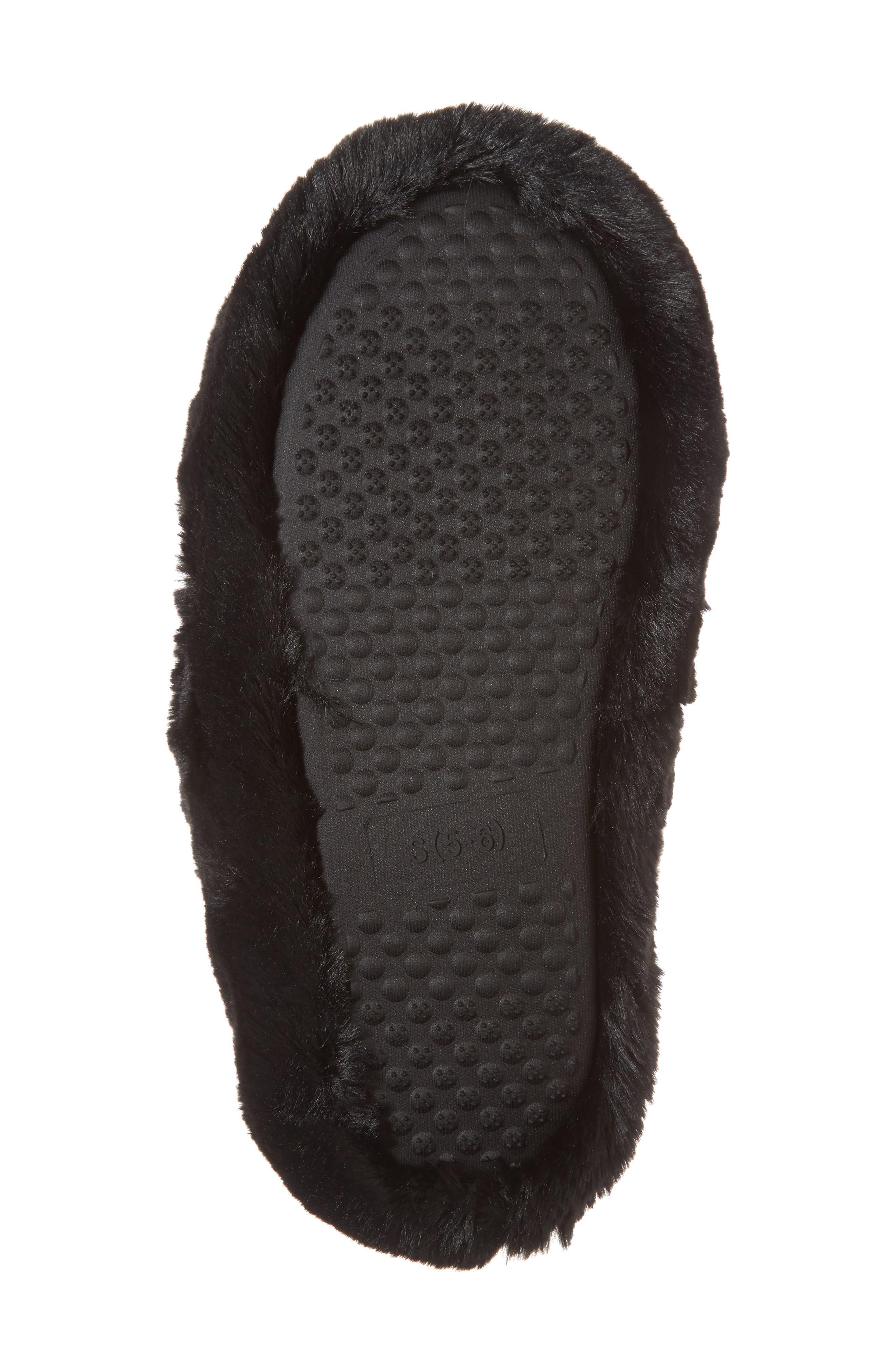 Comfy Faux Fur Slipper,                             Alternate thumbnail 6, color,                             Black