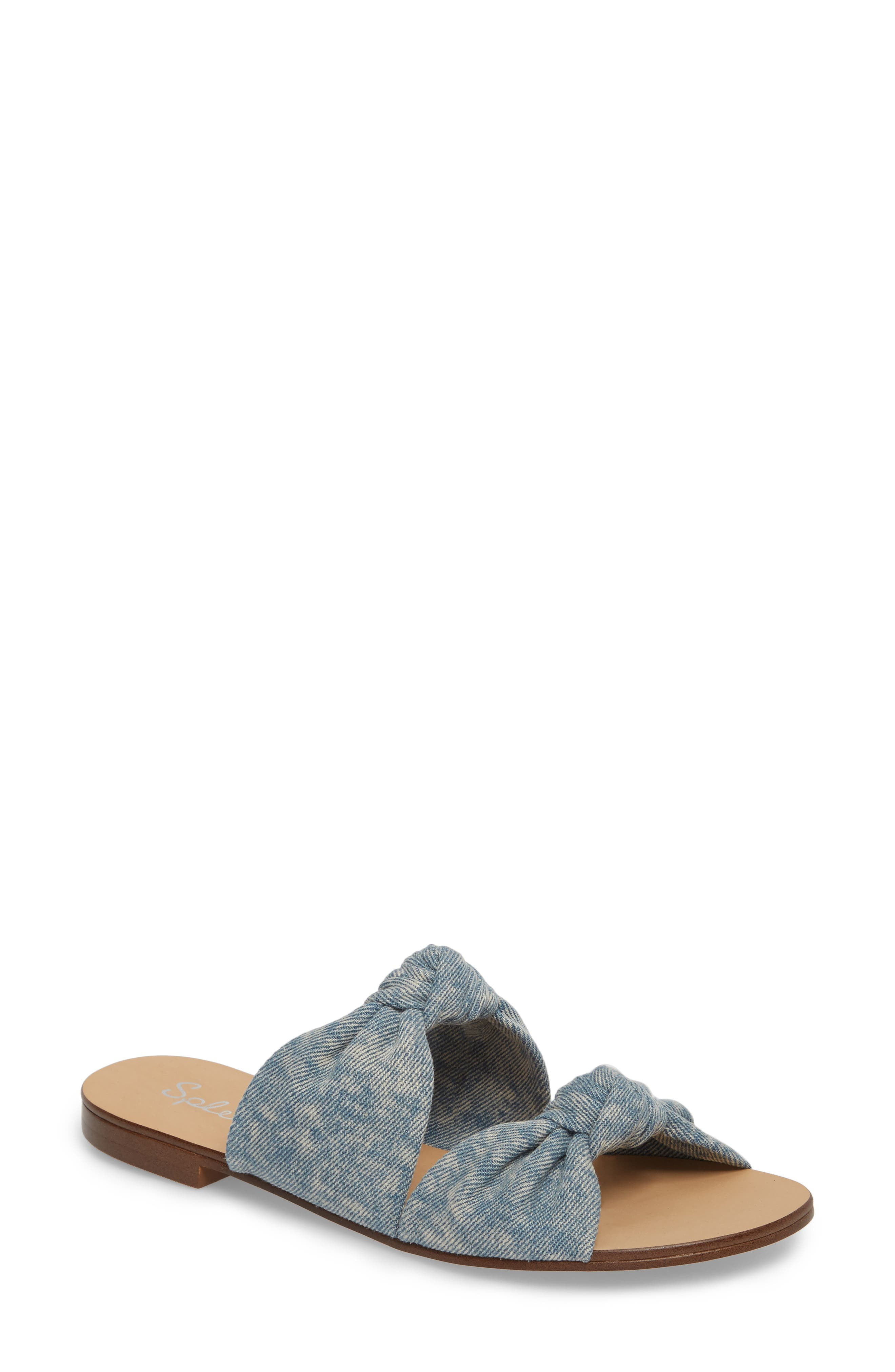Barton Double Knotted Slide Sandal,                         Main,                         color, Jean Fabric