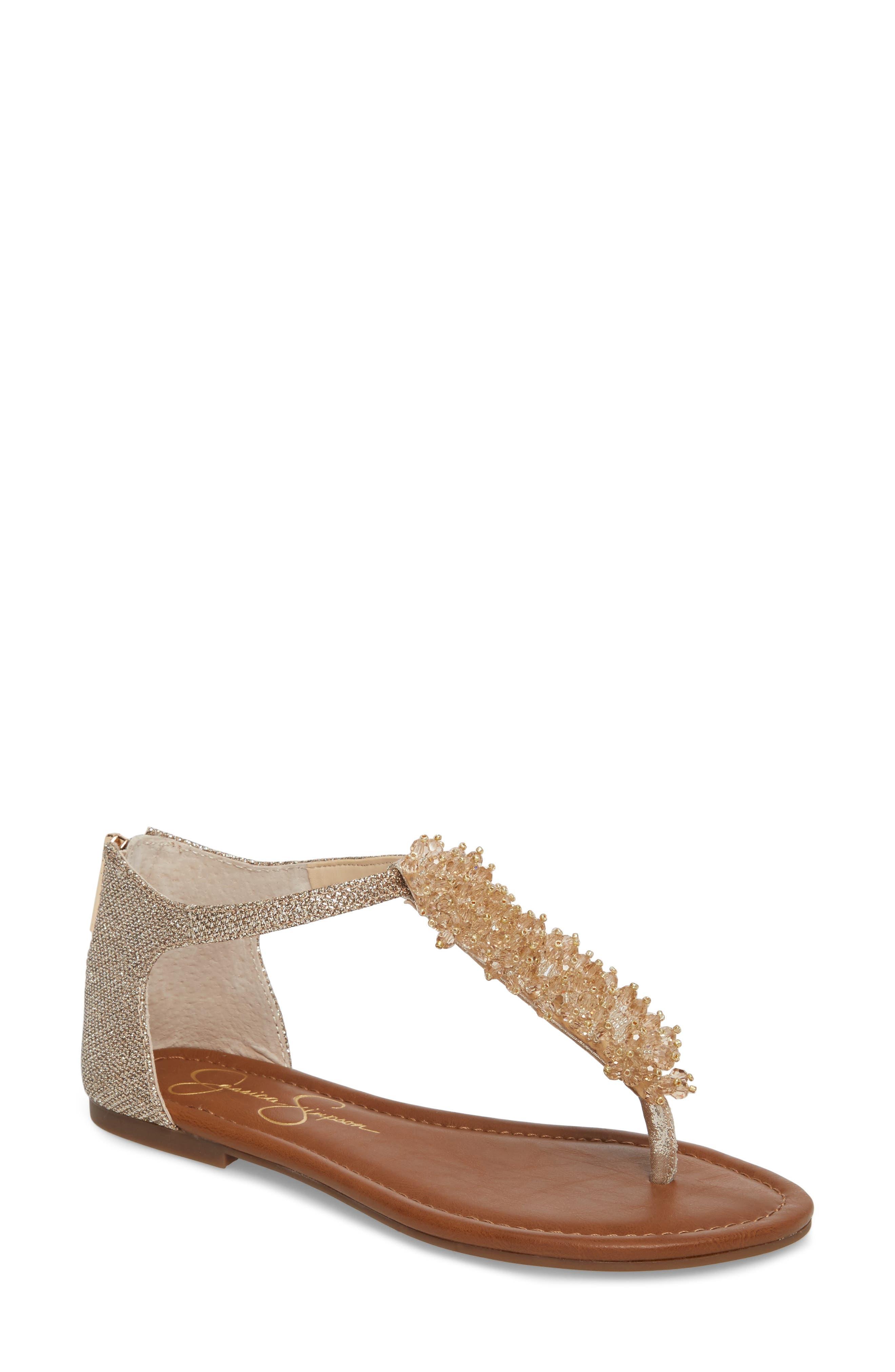 Kenton Crystal Embellished Sandal,                         Main,                         color, Gold