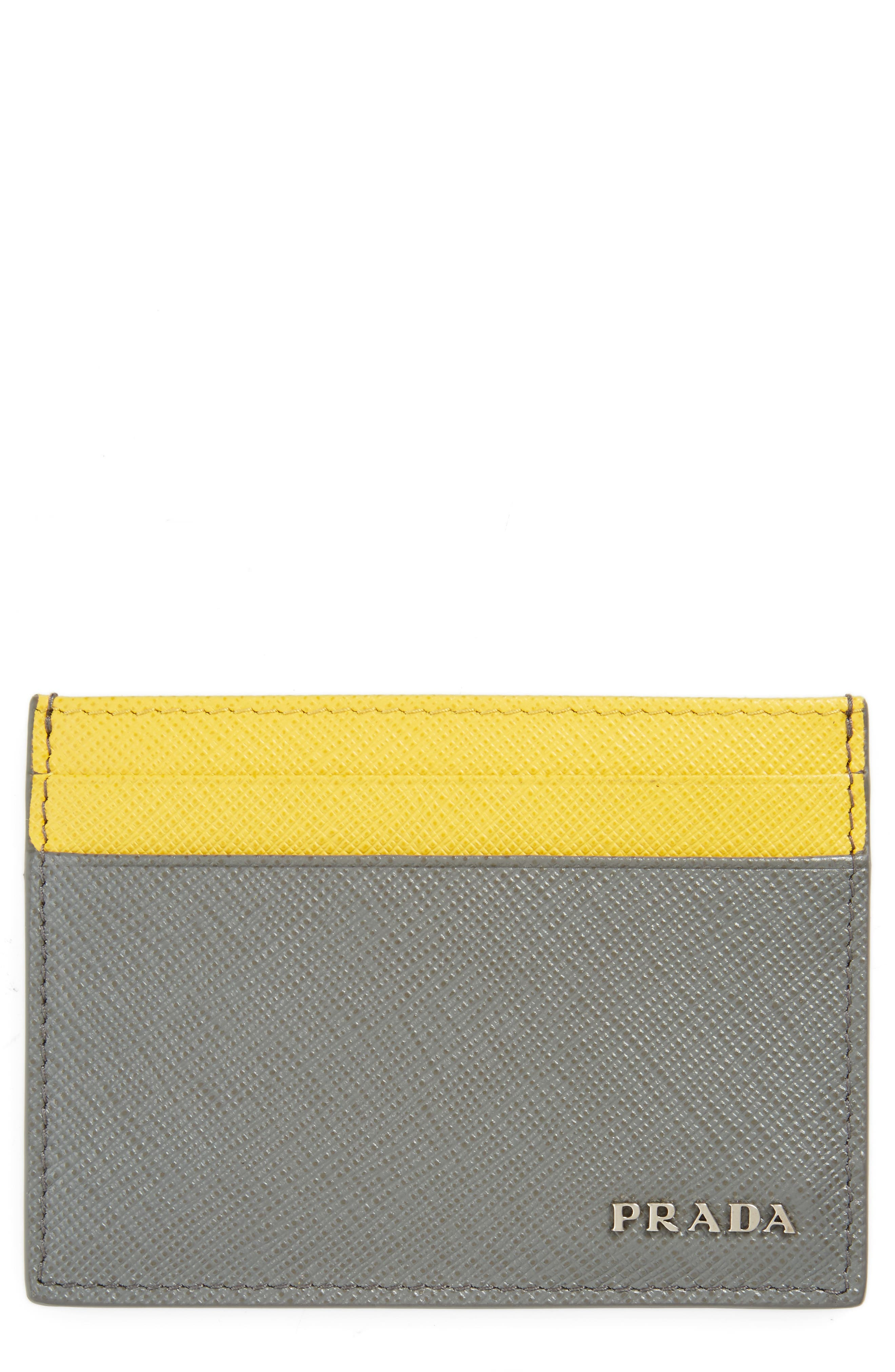Prada Bicolor Saffiano Leather Card Case