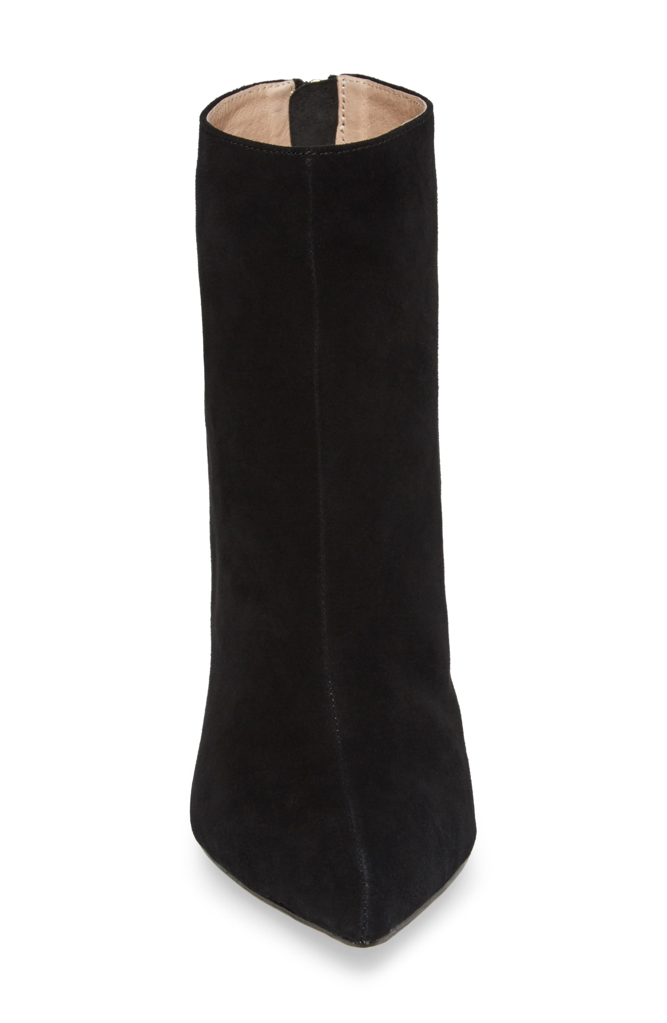 Tati Pointy Toe Bootie,                             Alternate thumbnail 4, color,                             Black Suede