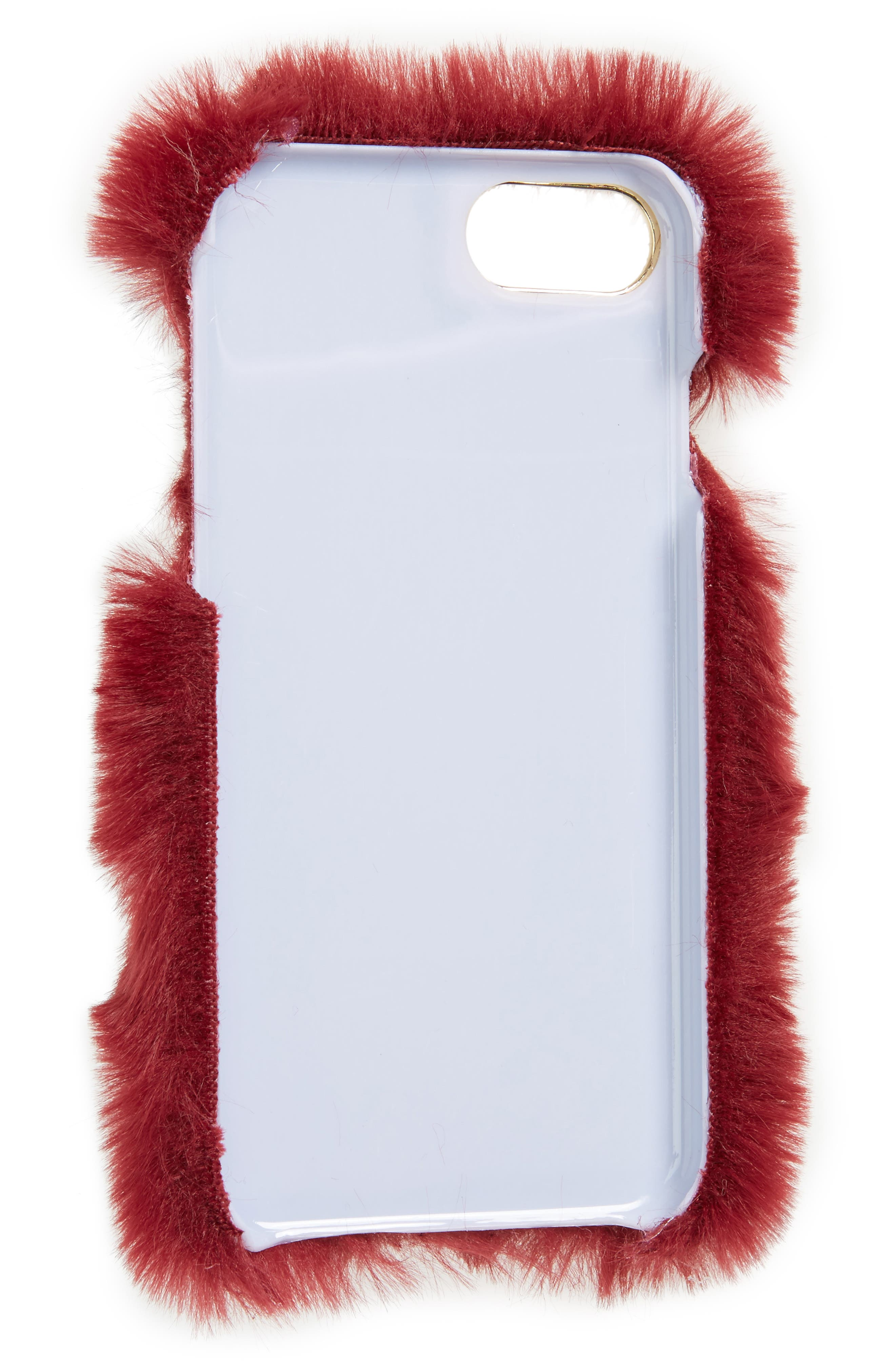 Faux Fur iPhone 6/6s/7 Case,                             Alternate thumbnail 2, color,                             Burgundy