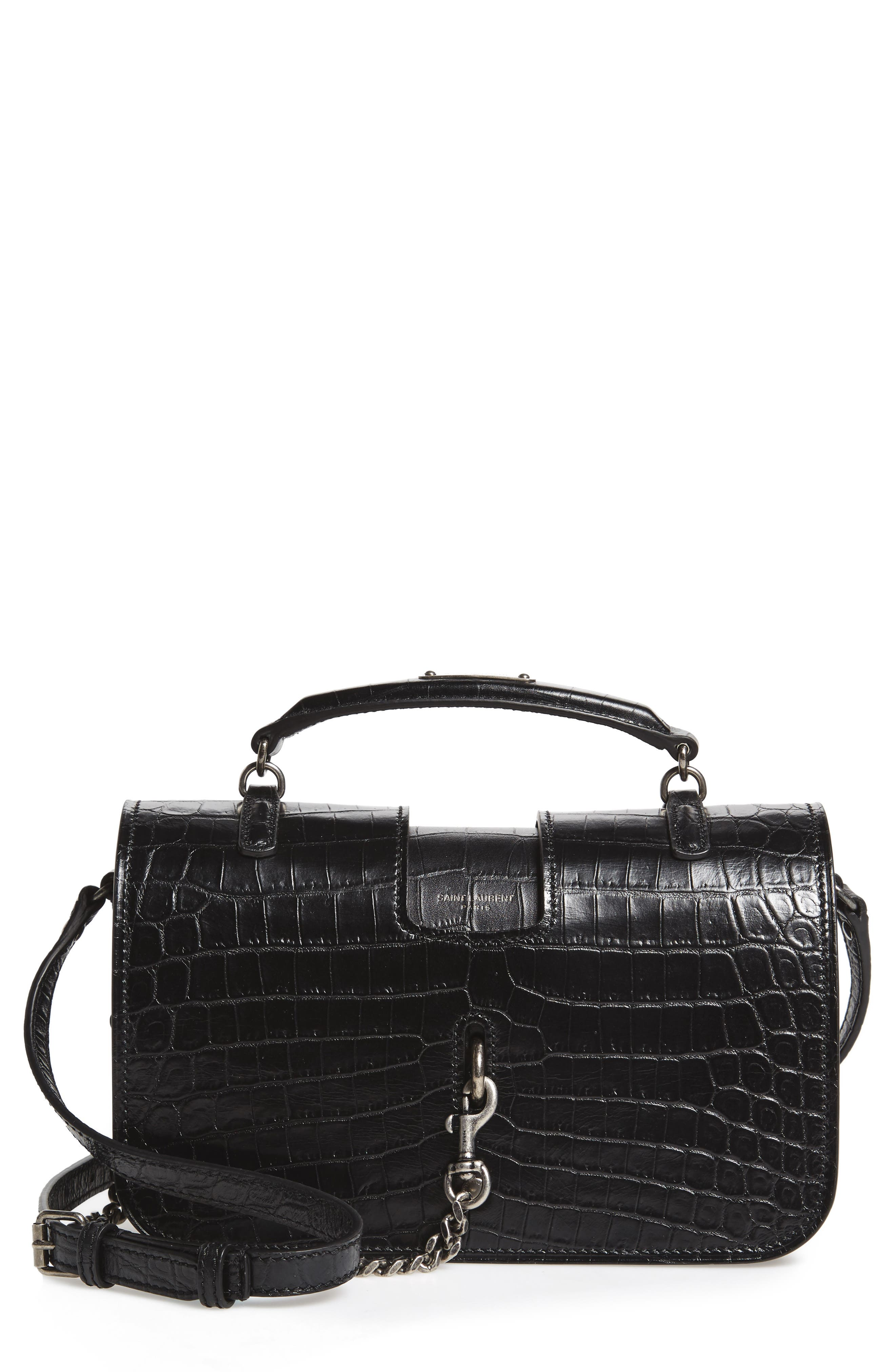 Saint Laurent Croc-Embossed Calfskin Satchel