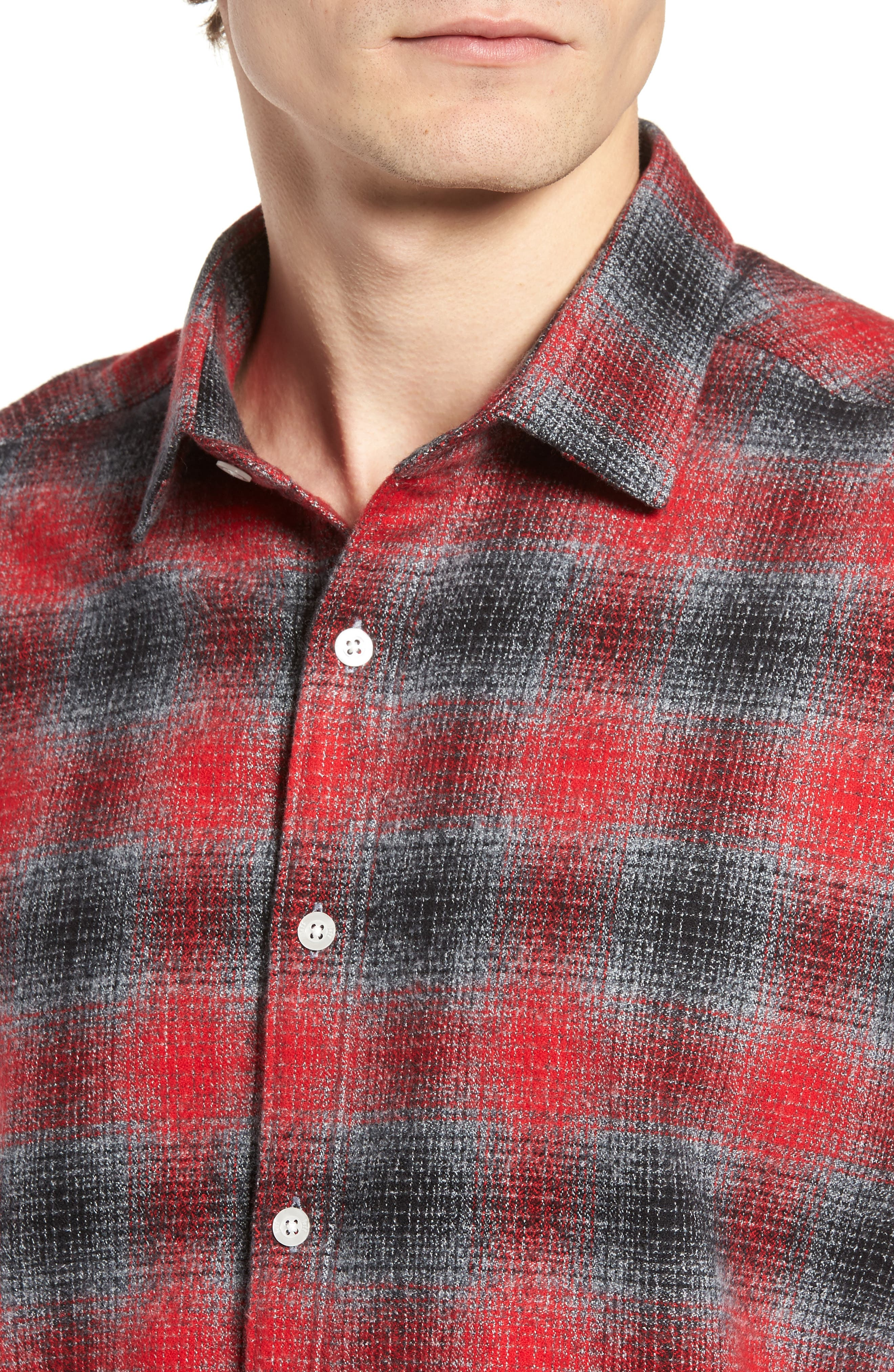 Stowe Slim Fit Plaid Sport Shirt,                             Alternate thumbnail 4, color,                             Platnium Grey