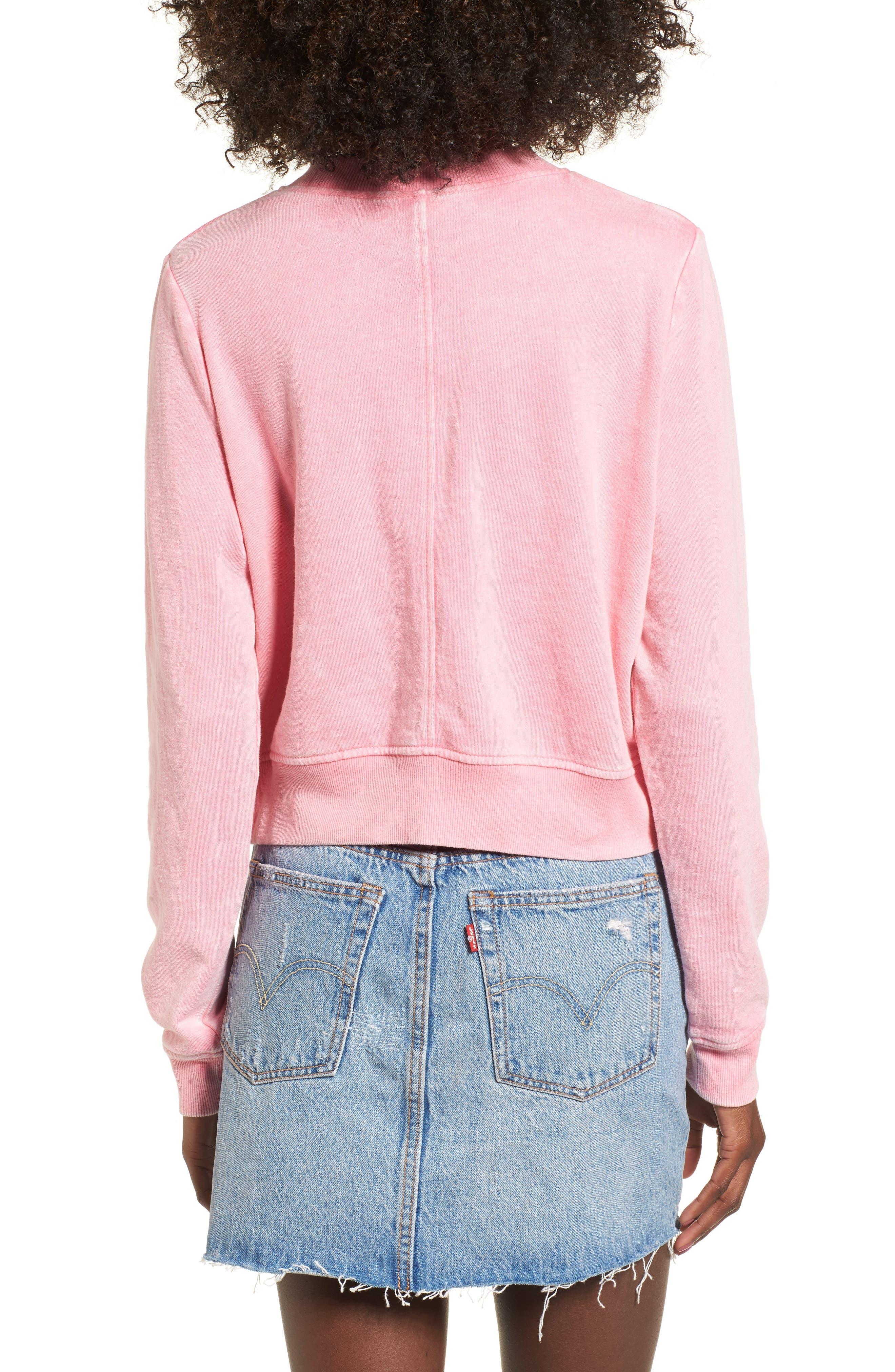 Washed Crop Sweatshirt,                             Alternate thumbnail 2, color,                             Pink