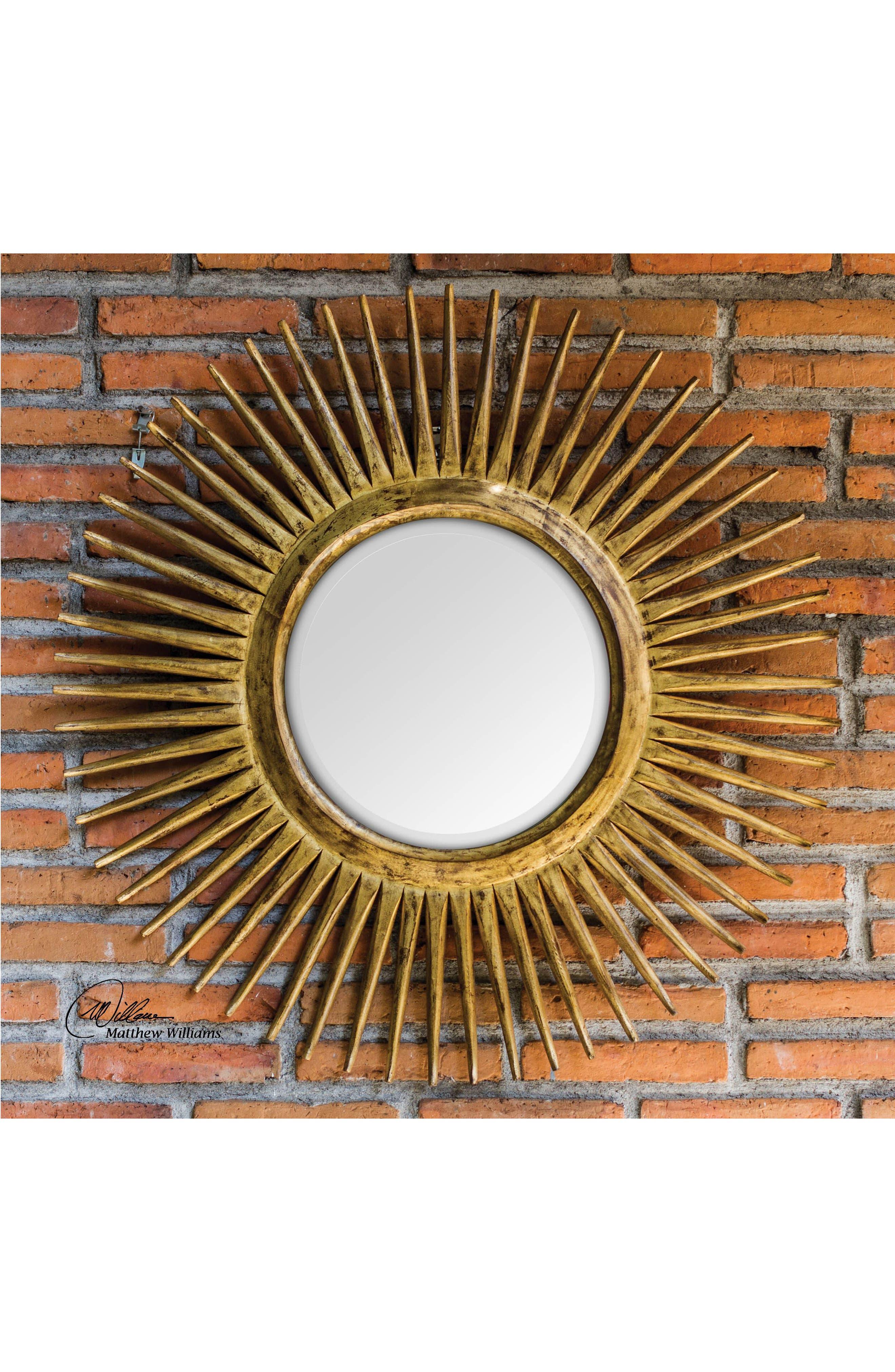 Destello Wall Mirror,                             Alternate thumbnail 2, color,                             Brown