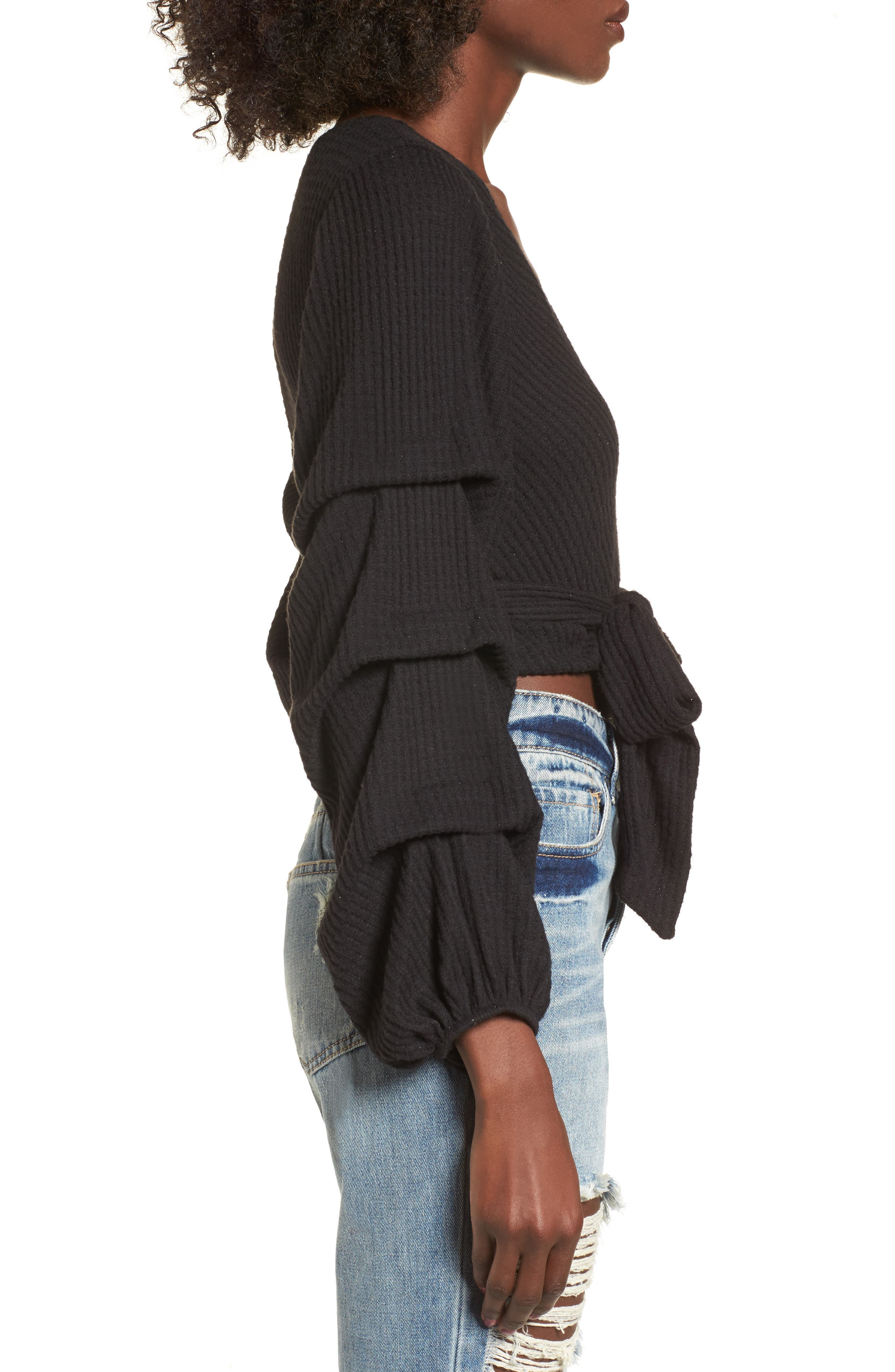 Wrap Sweater,                             Alternate thumbnail 3, color,                             Black