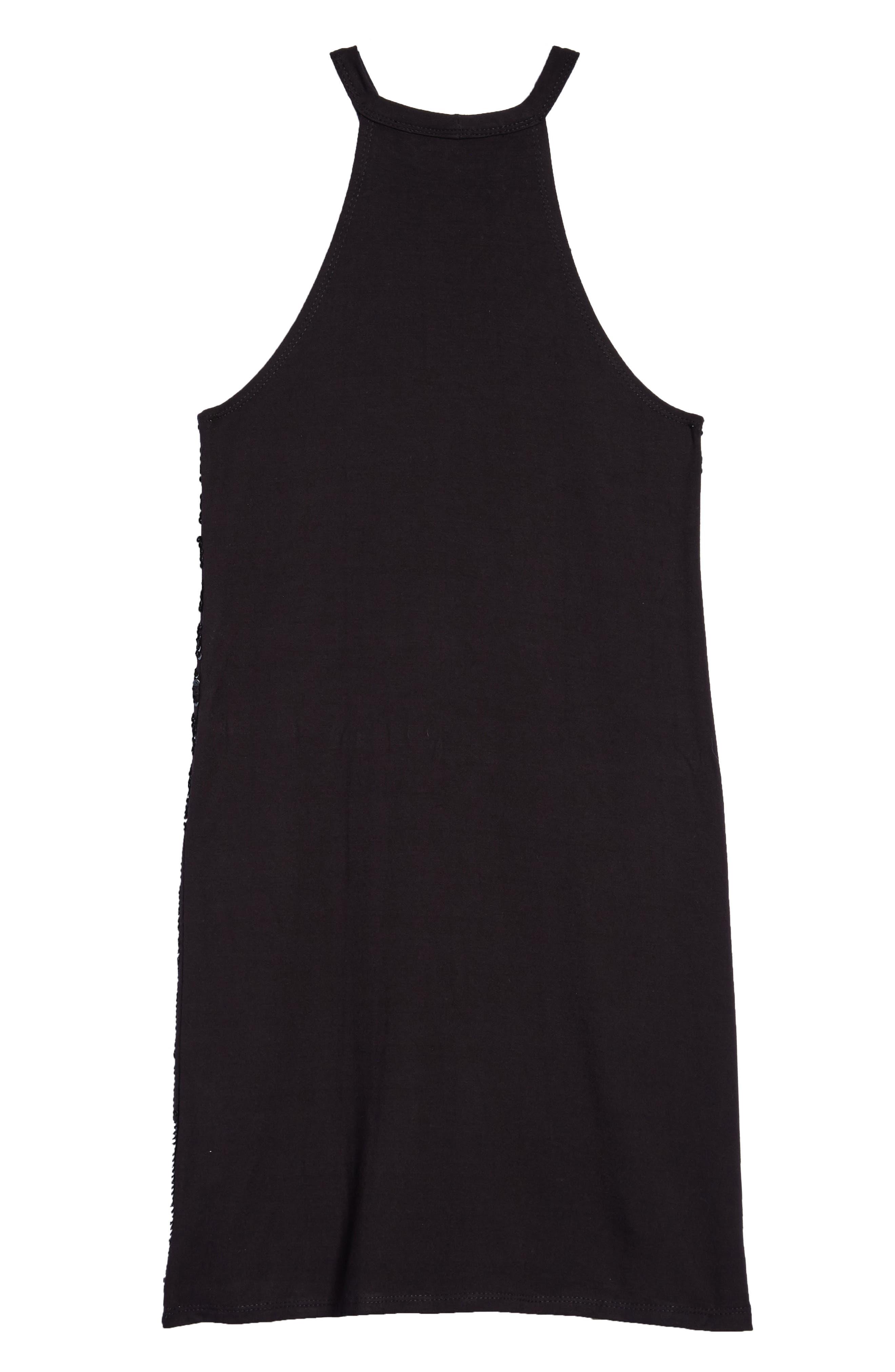 Sequin Stripe Sleeveless Dress,                             Alternate thumbnail 2, color,                             Black