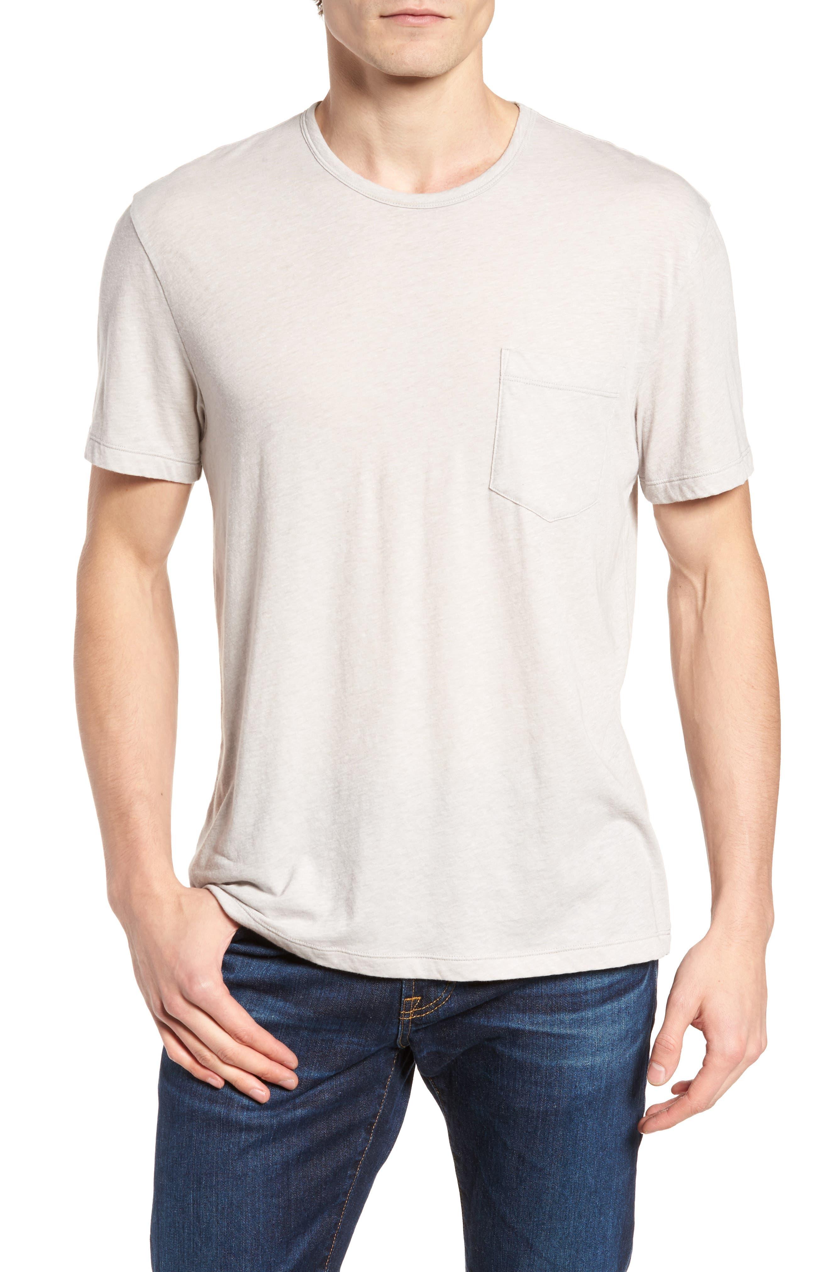 Slubbed Cotton & Linen Pocket T-Shirt,                             Main thumbnail 1, color,                             Fossil Melange