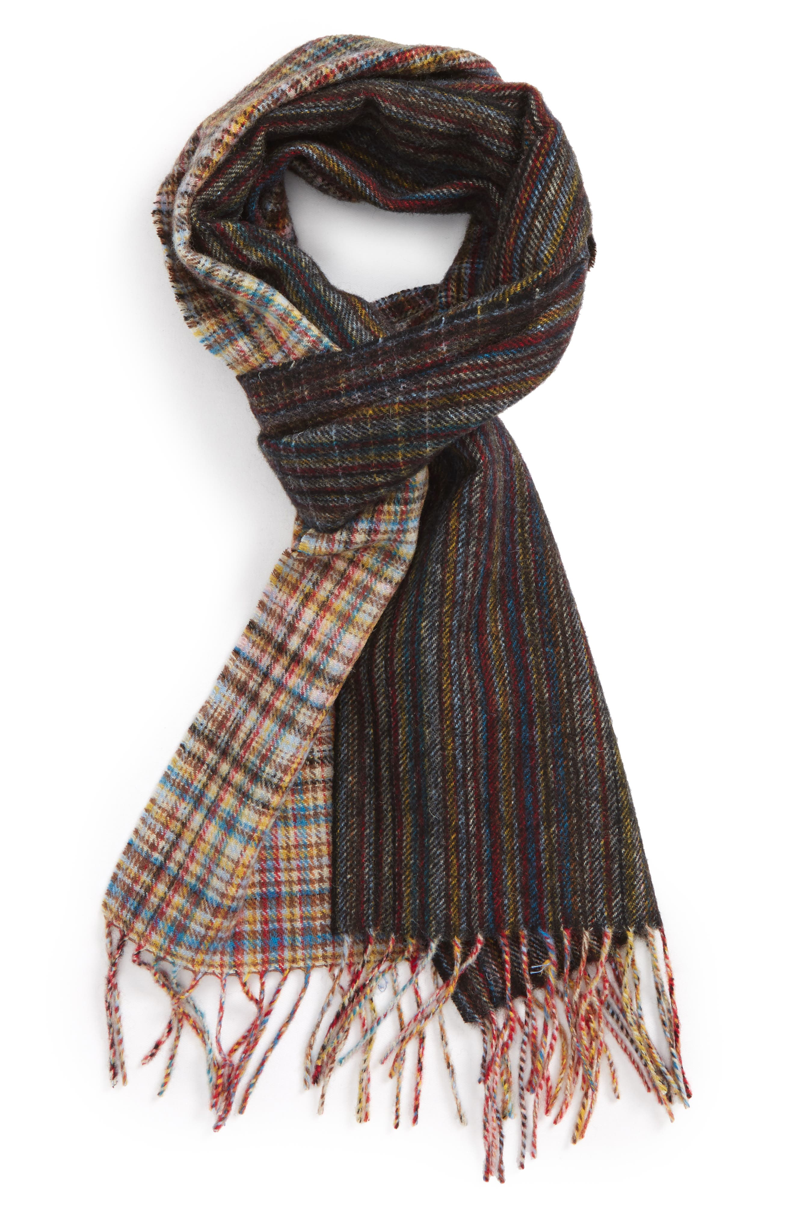 Multistripe Check Lambswool Scarf,                         Main,                         color, Blue Multi
