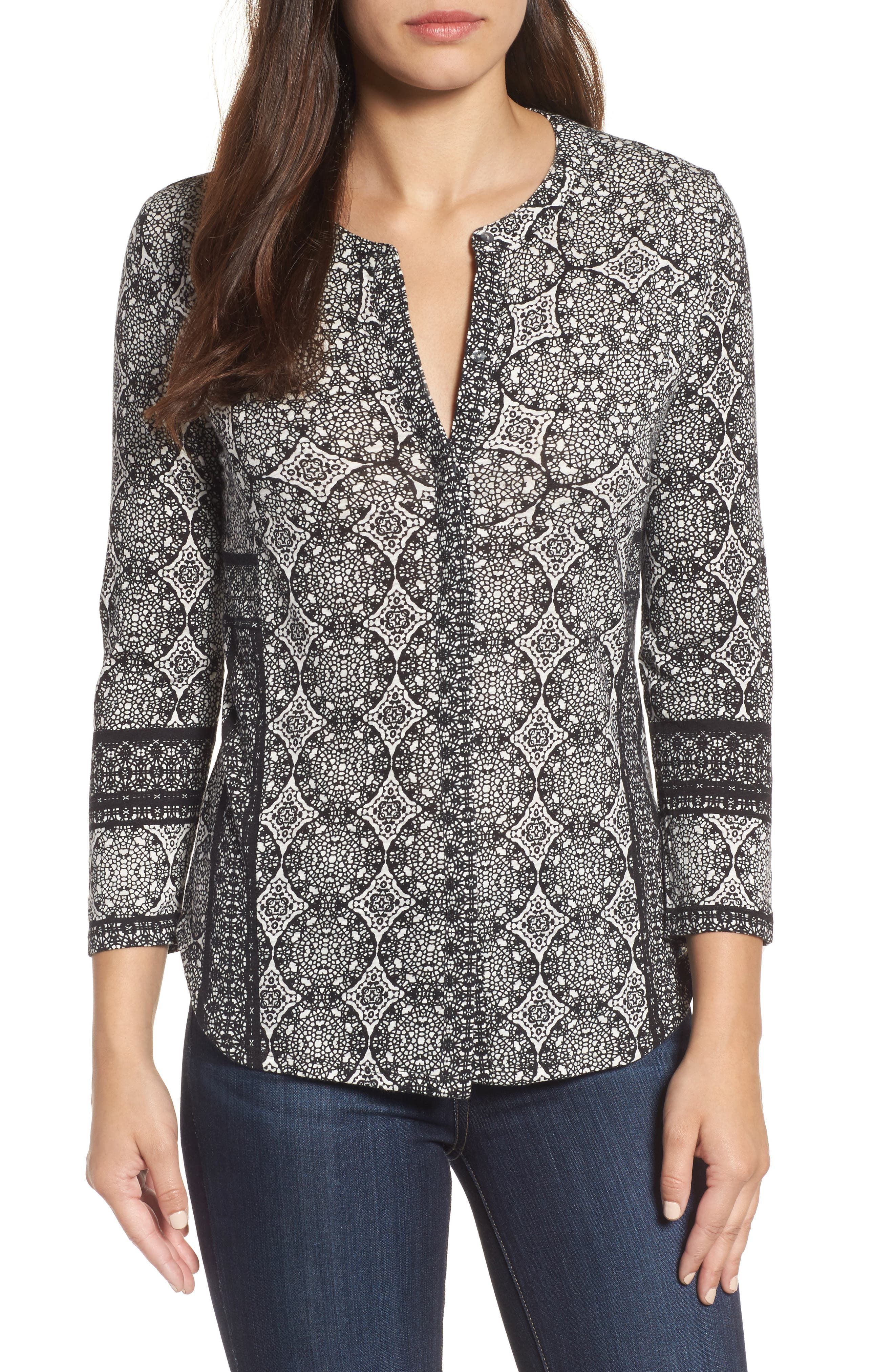 Main Image - Lucky Brand Button Front Geo Print Top