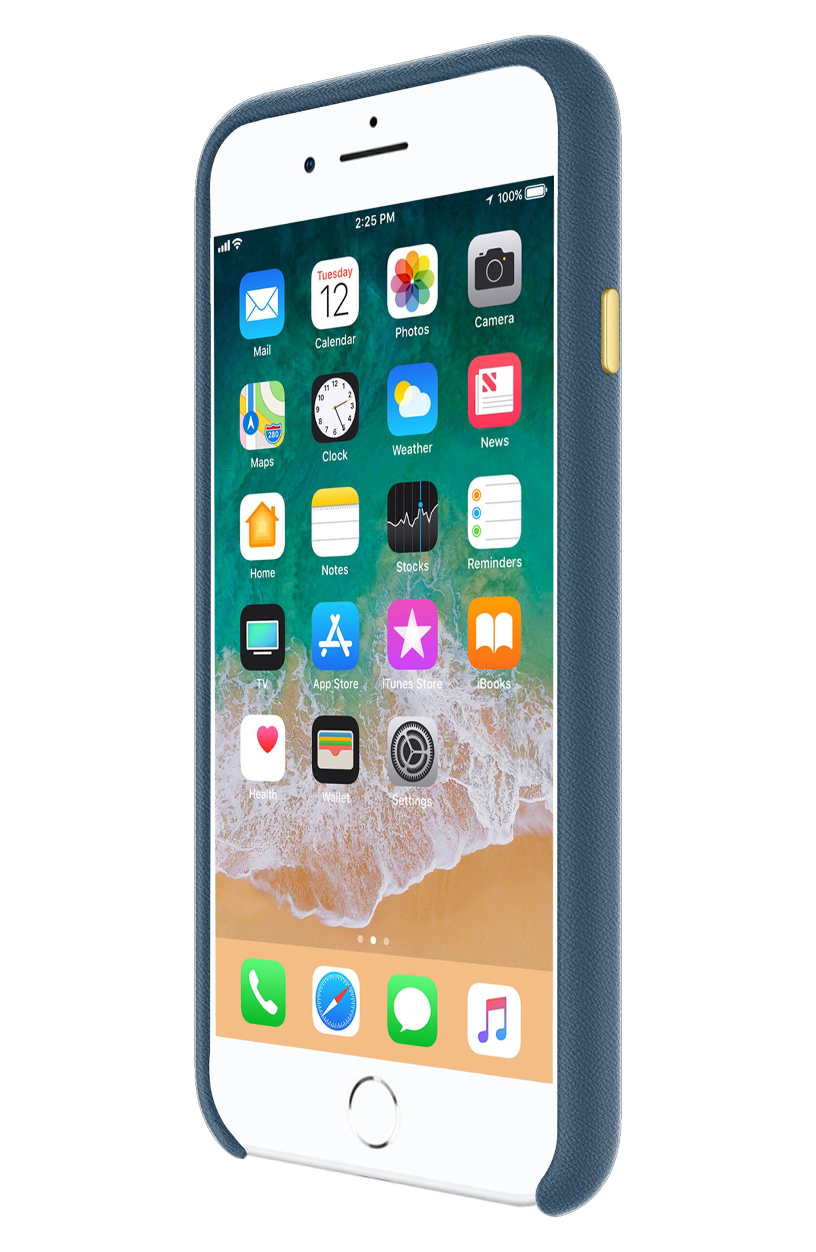 Leather Wrap iPhone 8 Plus Case,                             Alternate thumbnail 5, color,                             Navy