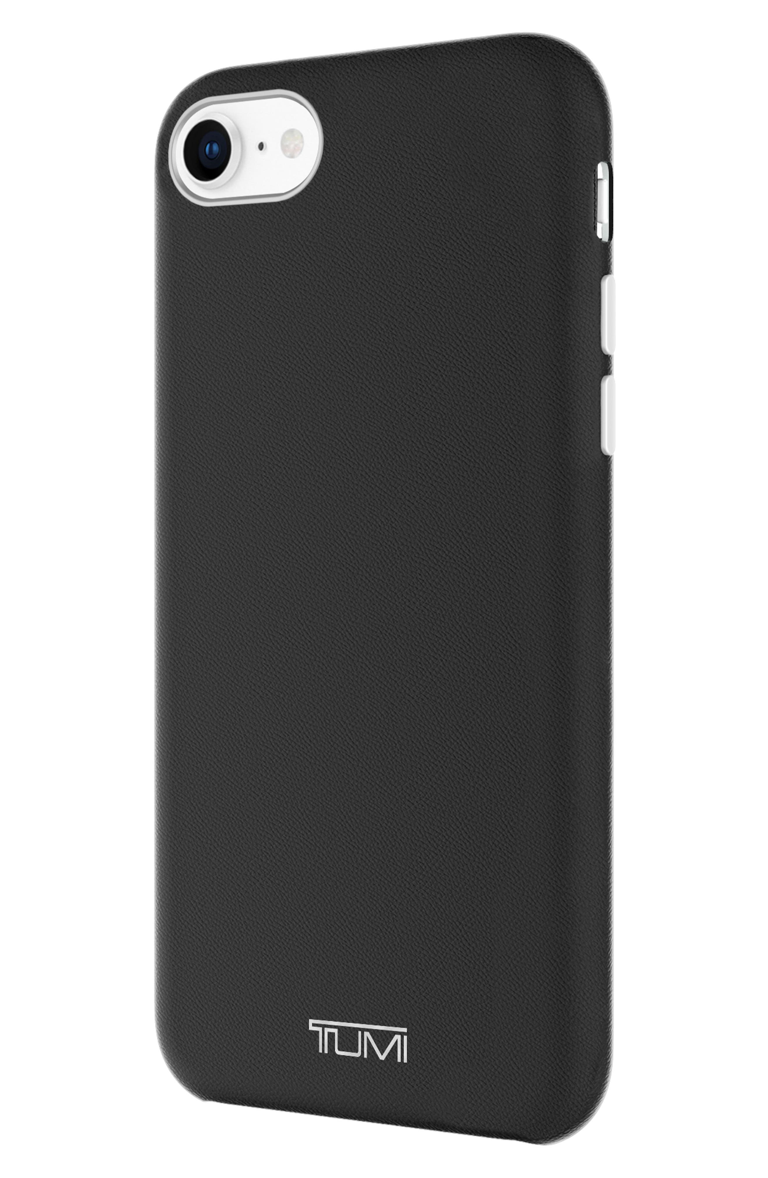 Leather Wrap iPhone 8 Case,                             Alternate thumbnail 3, color,                             Black