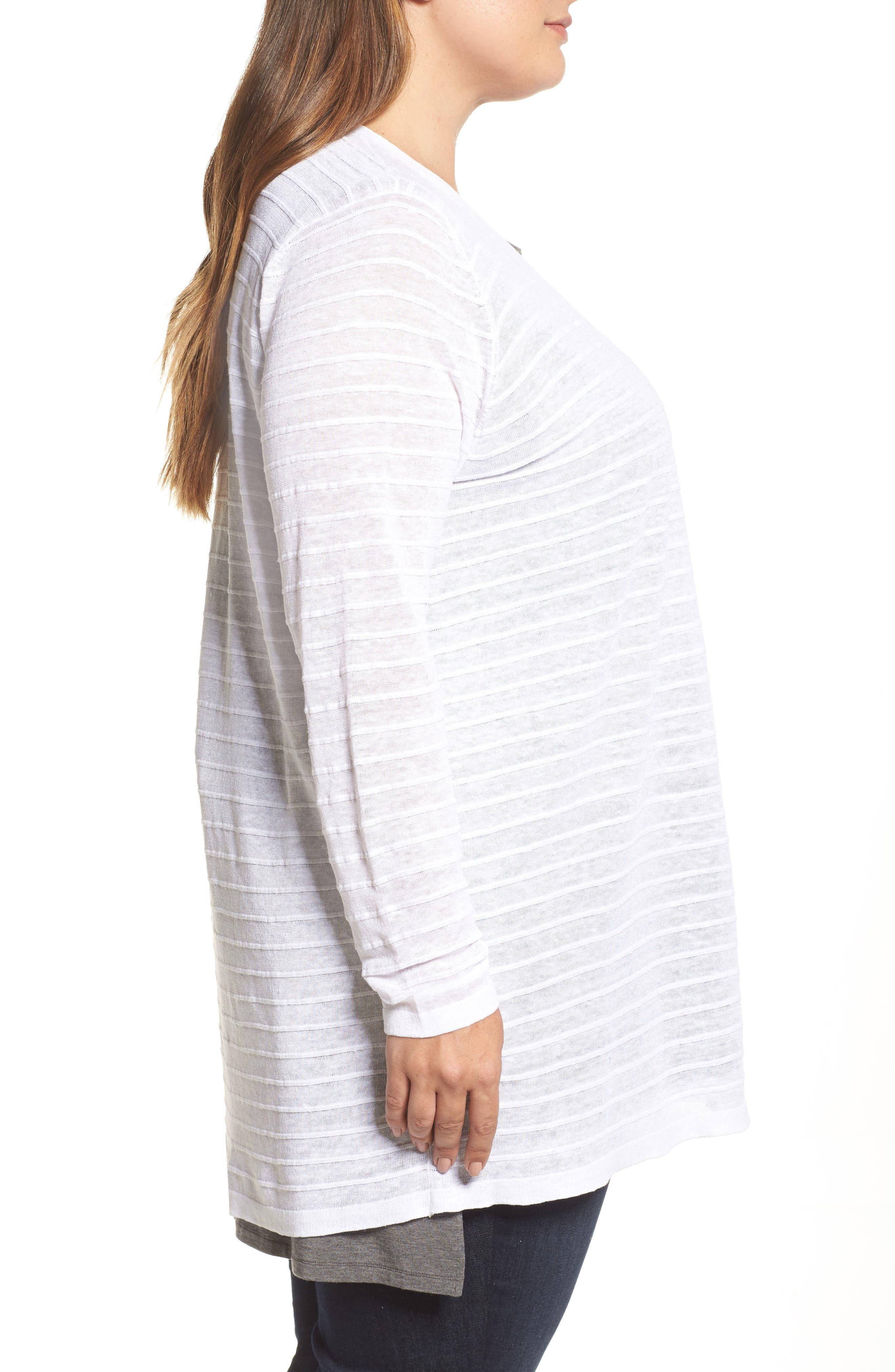 Shadow Stripe Organic Linen Cardigan,                             Alternate thumbnail 3, color,                             White