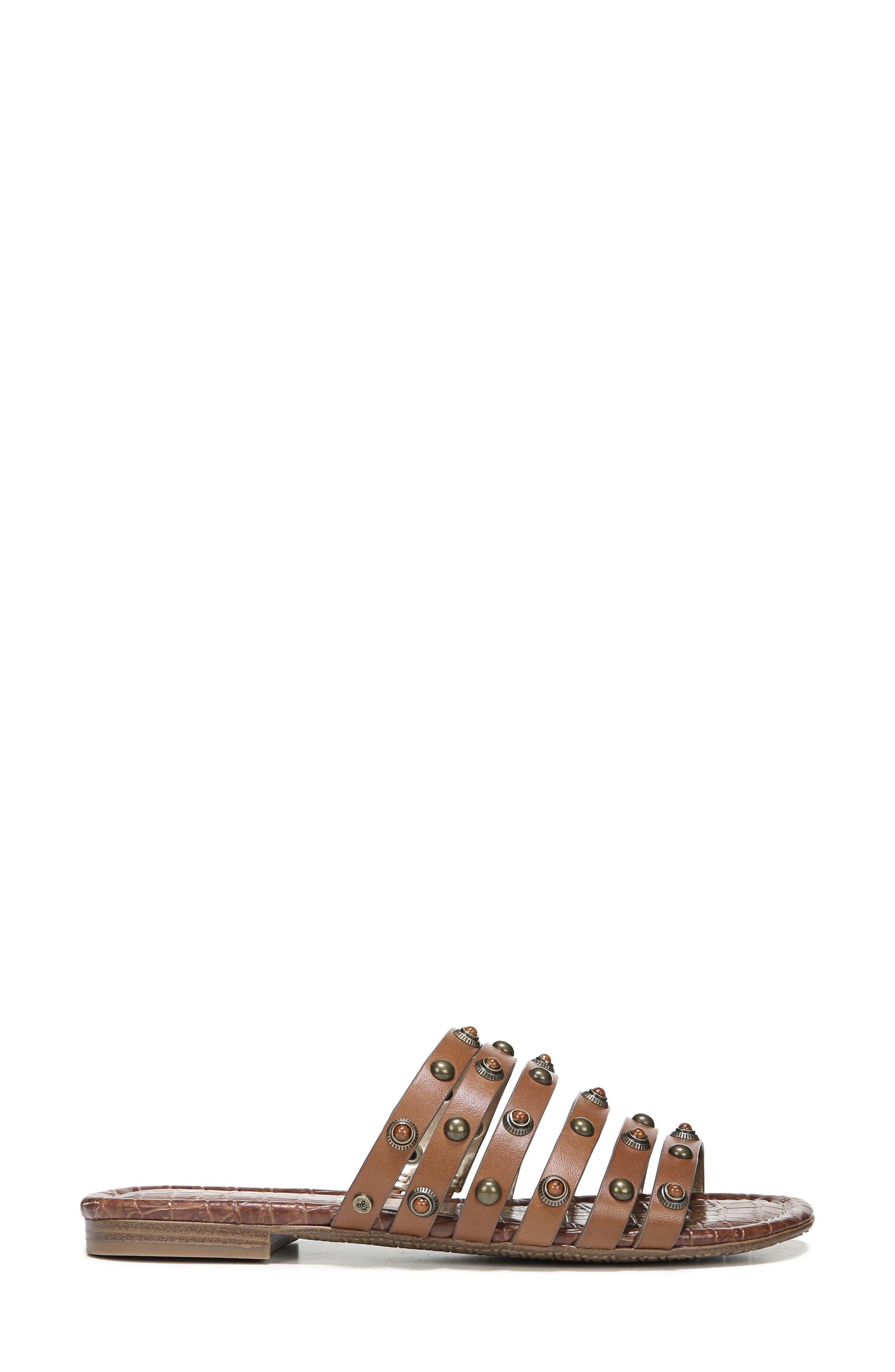Brea Studded Slide Sandal,                             Alternate thumbnail 3, color,                             Luggage Leather