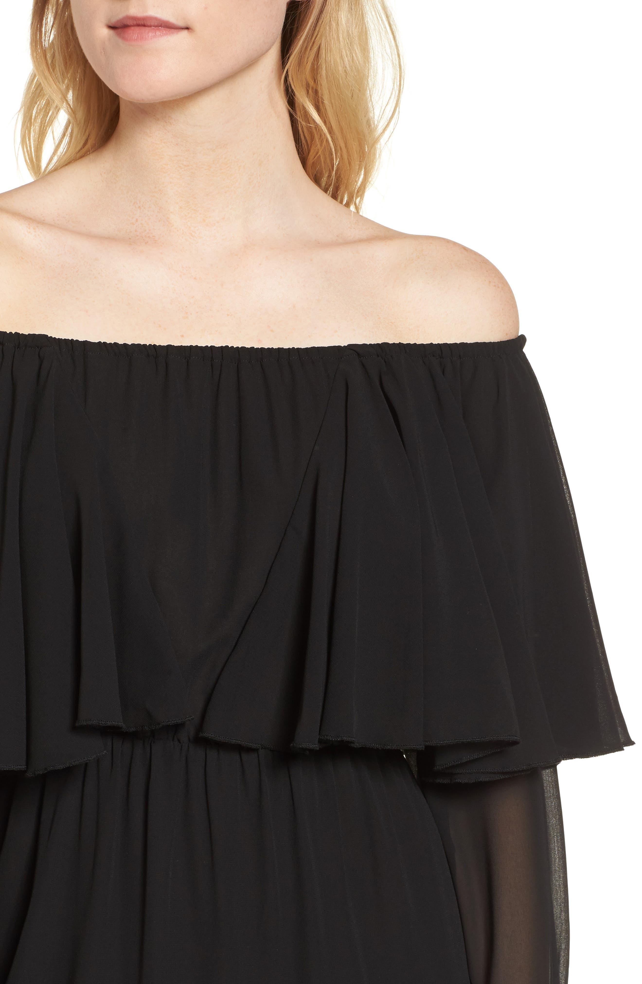 Day Dreamer Dress,                             Alternate thumbnail 4, color,                             Black