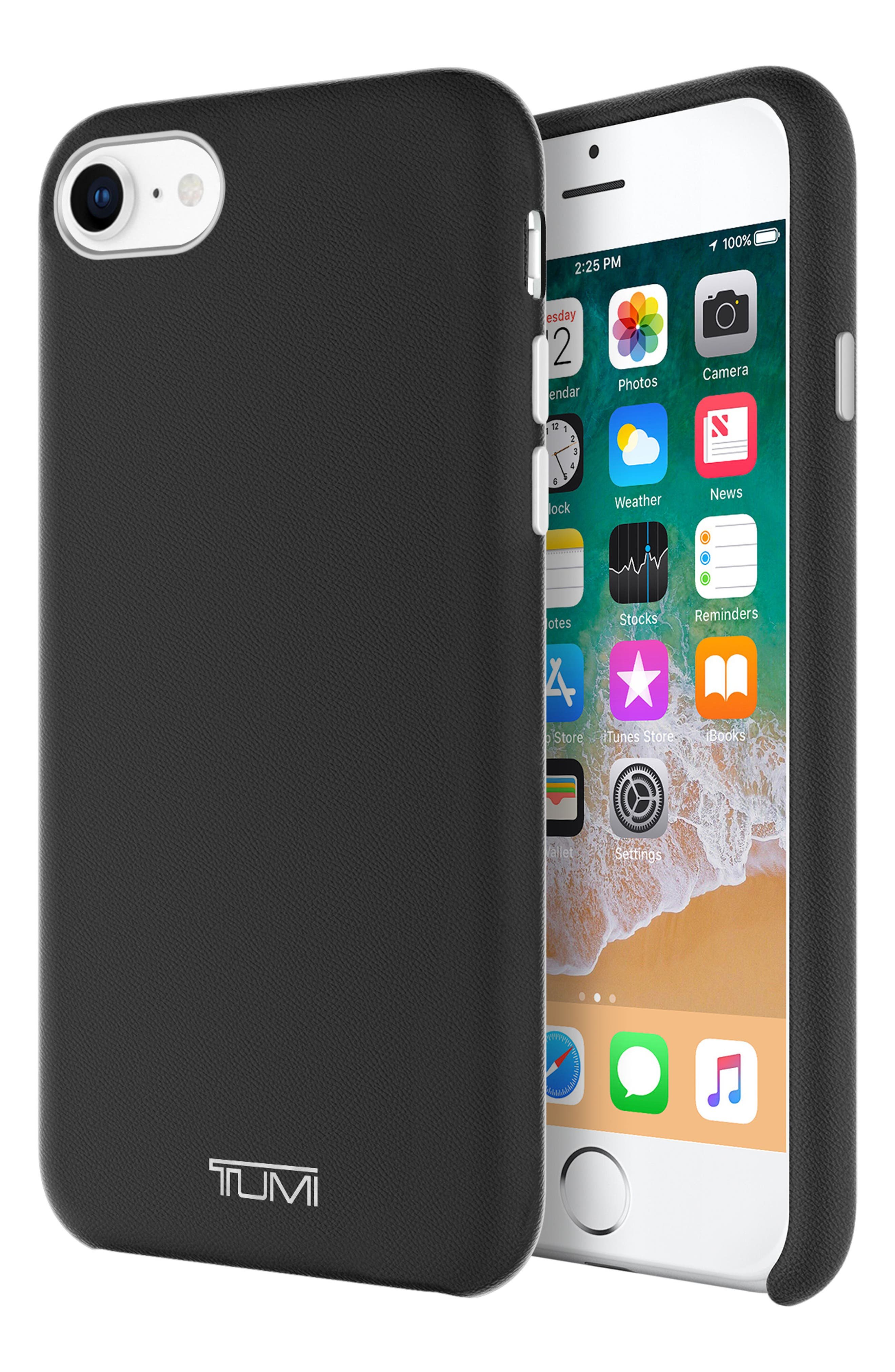 Leather Wrap iPhone 8 Case,                             Alternate thumbnail 5, color,                             Black