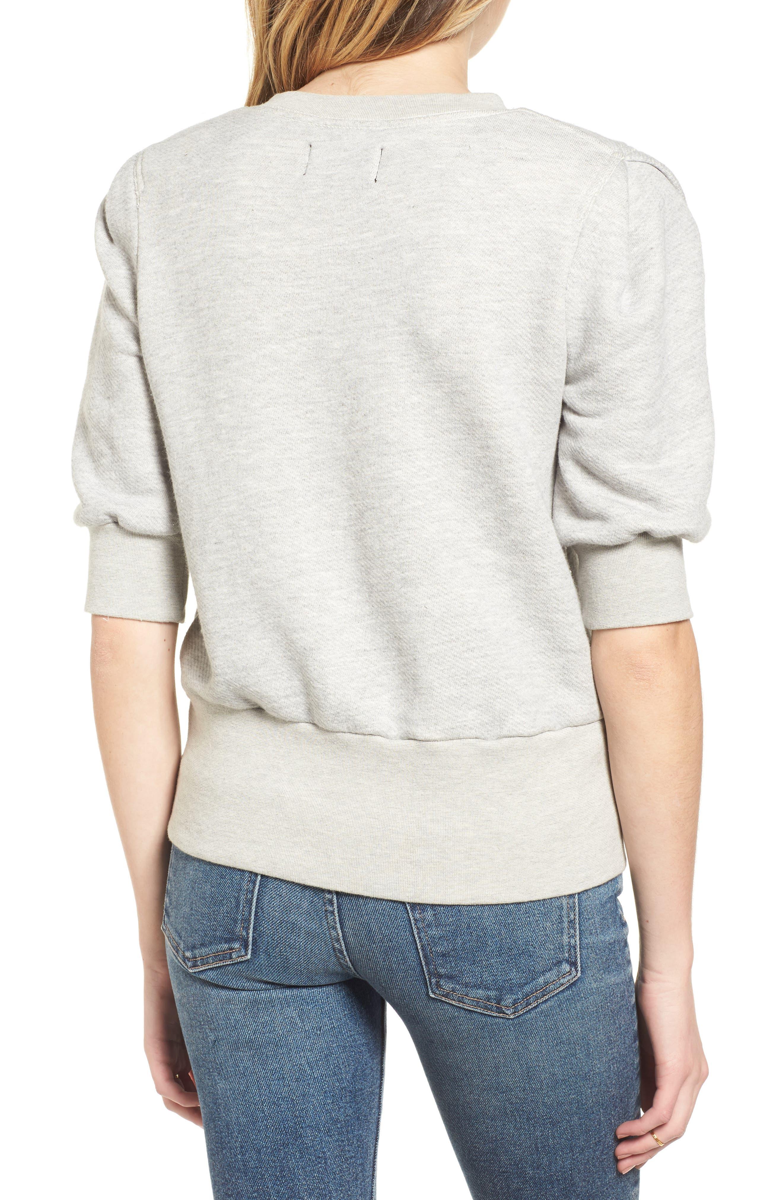The Pleat Sweatshirt,                             Alternate thumbnail 2, color,                             Light Heather Grey Terry
