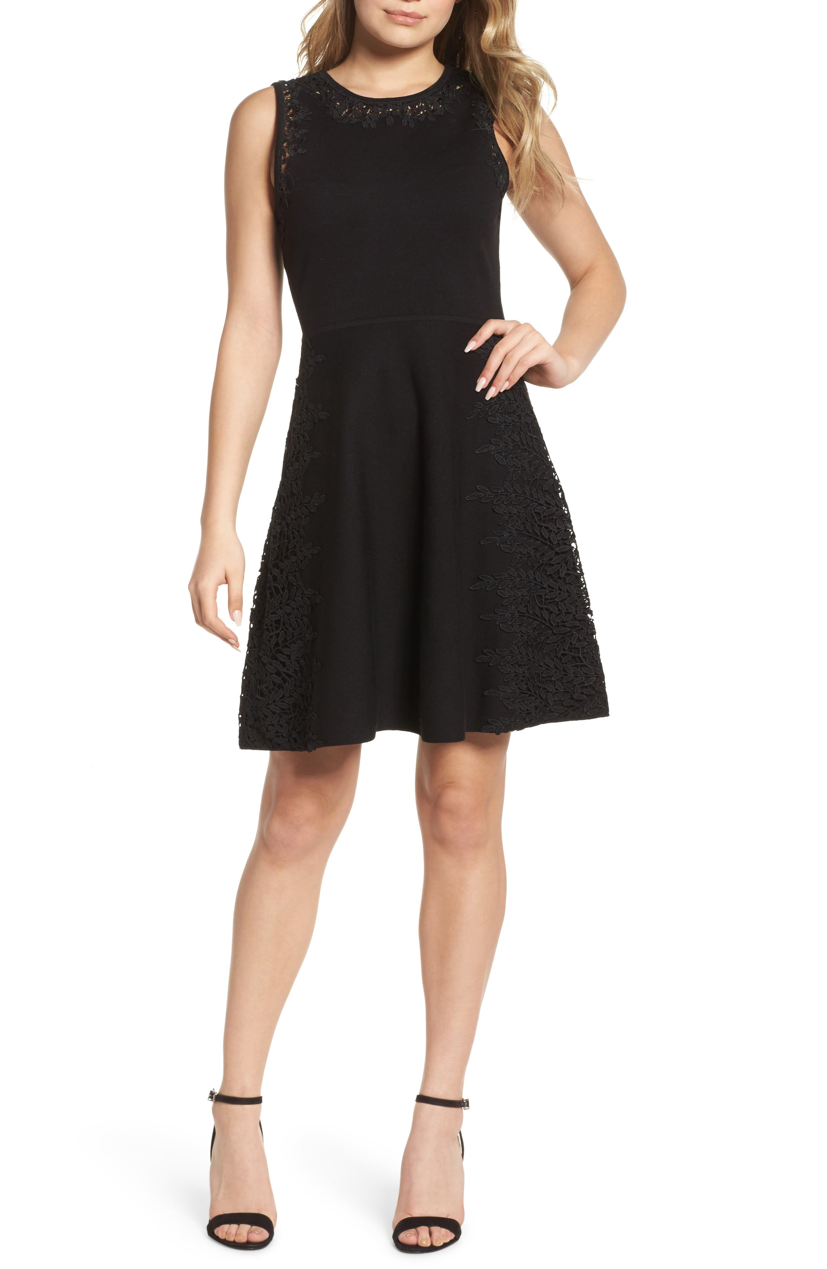 Lace Inset Fit & Flare Dress,                         Main,                         color, Black