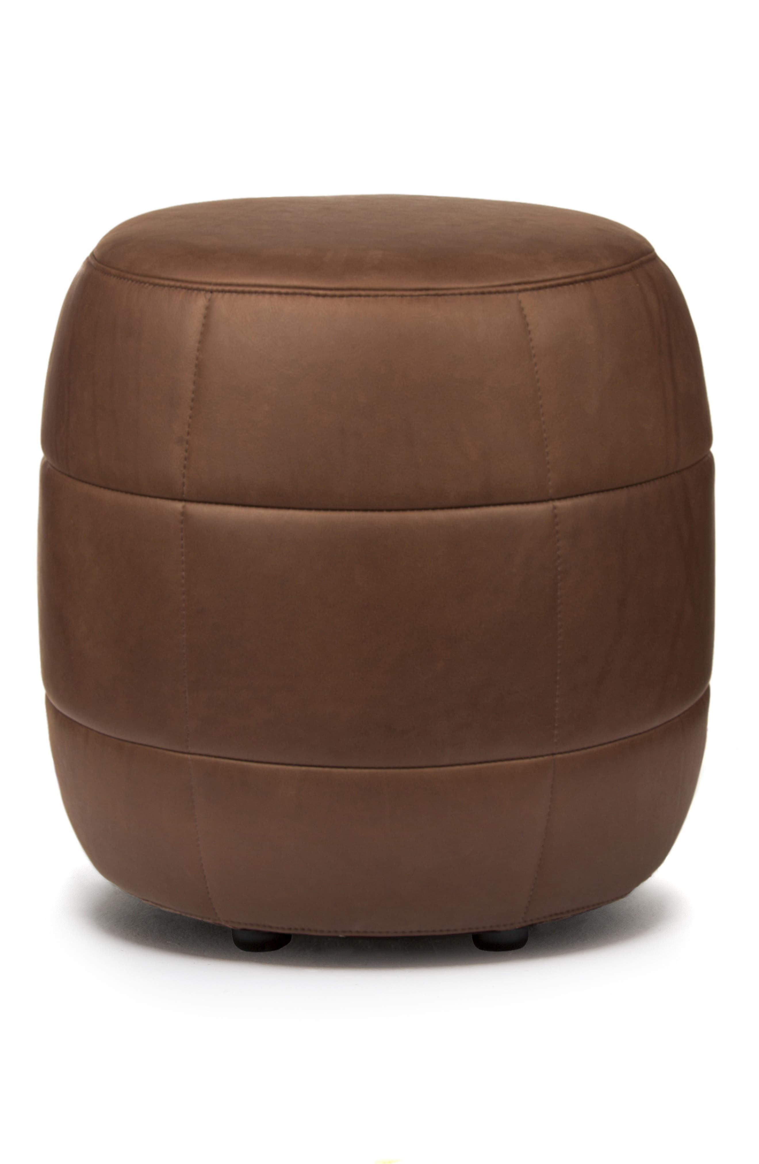 Barrell Leather Stool,                         Main,                         color, Loxton Mountain