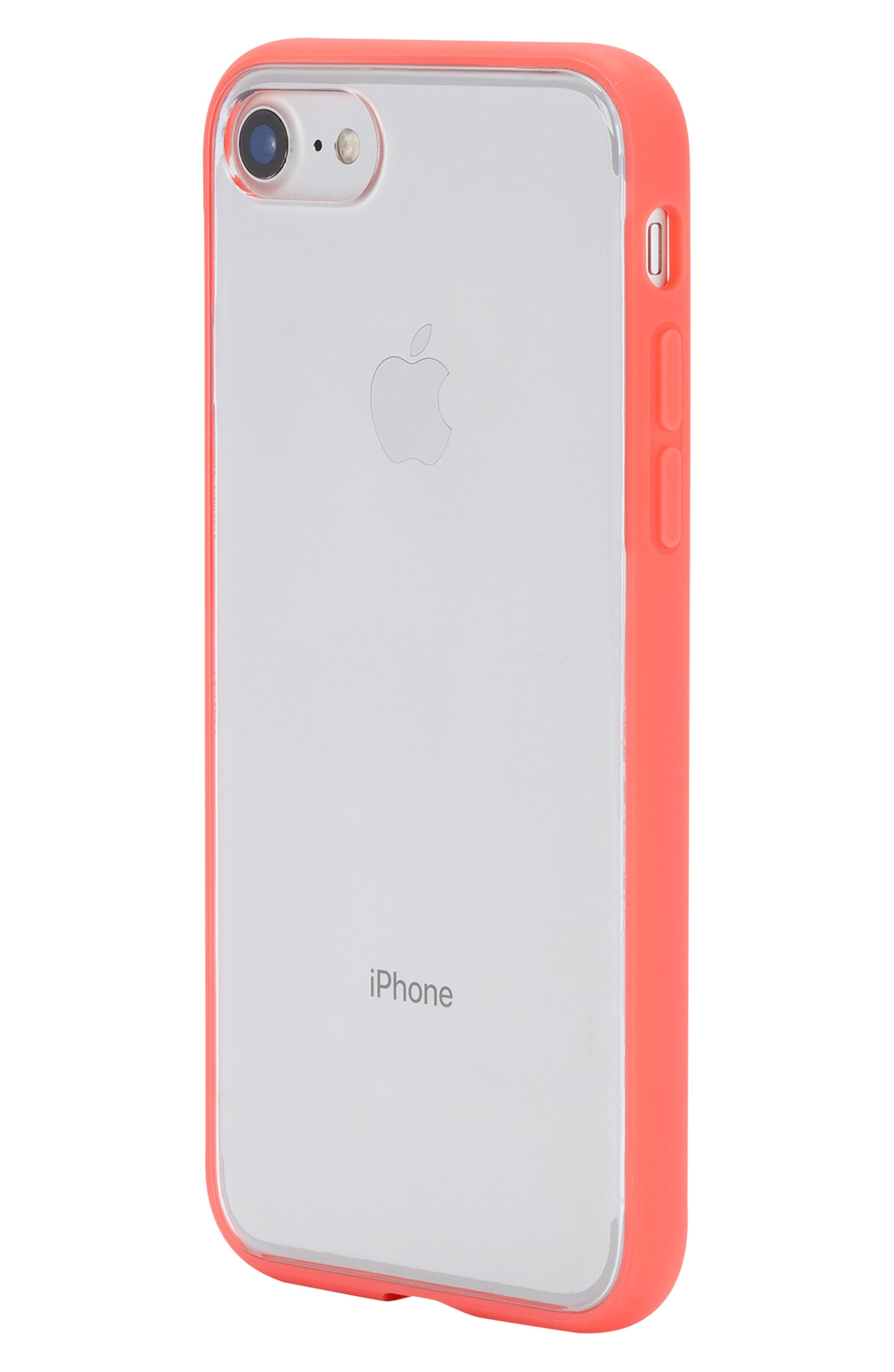 Pop Case Clear iPhone 7/8 Case,                             Alternate thumbnail 3, color,                             Coral