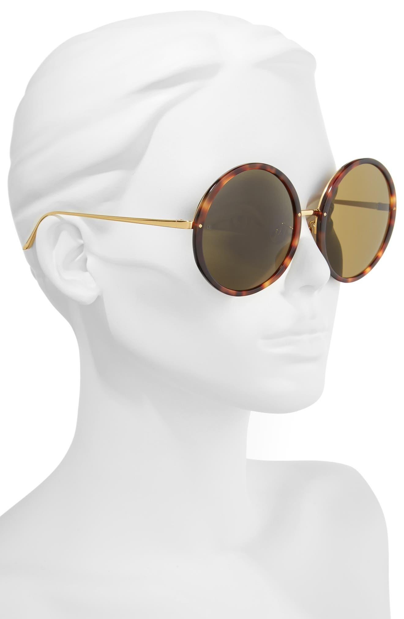 61mm Round 18 Karat Gold Trim Sunglasses,                             Alternate thumbnail 2, color,                             Tortoise/ Yellow Gold/ Brown
