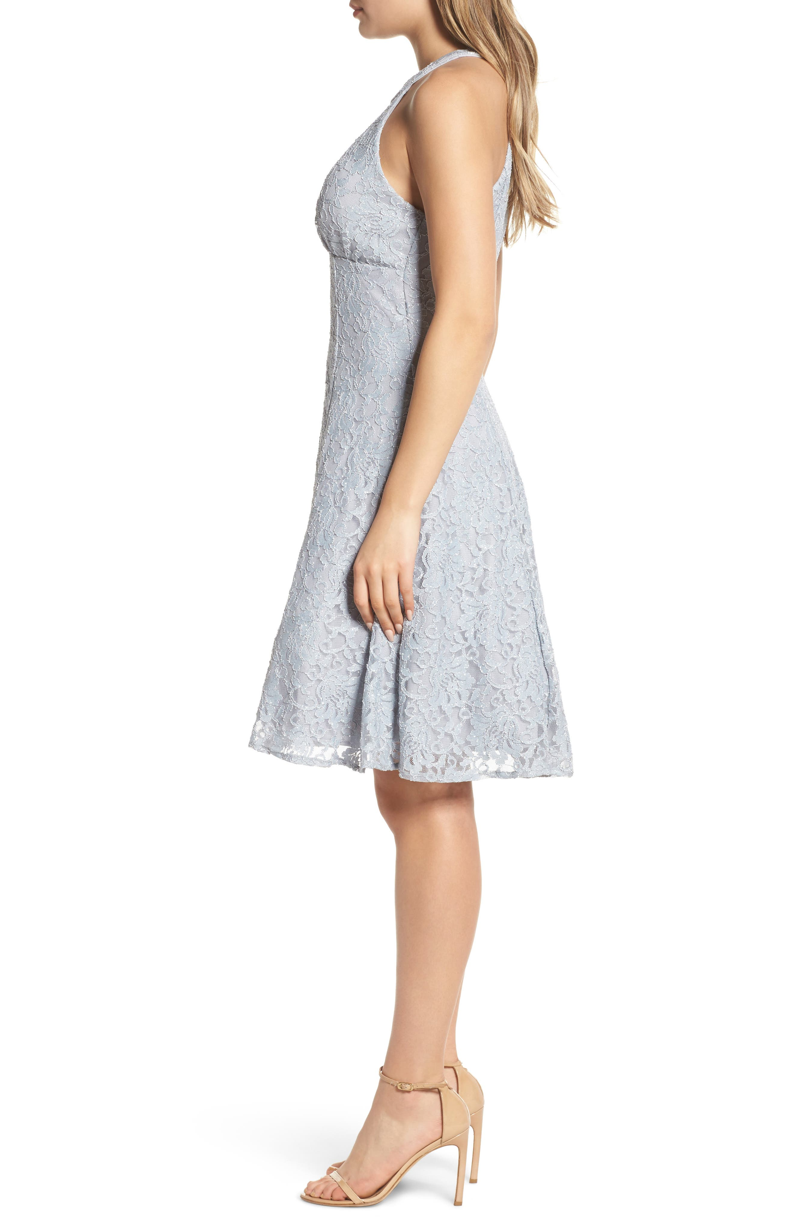 Lace Halter Neck Dress,                             Alternate thumbnail 3, color,                             Platinum