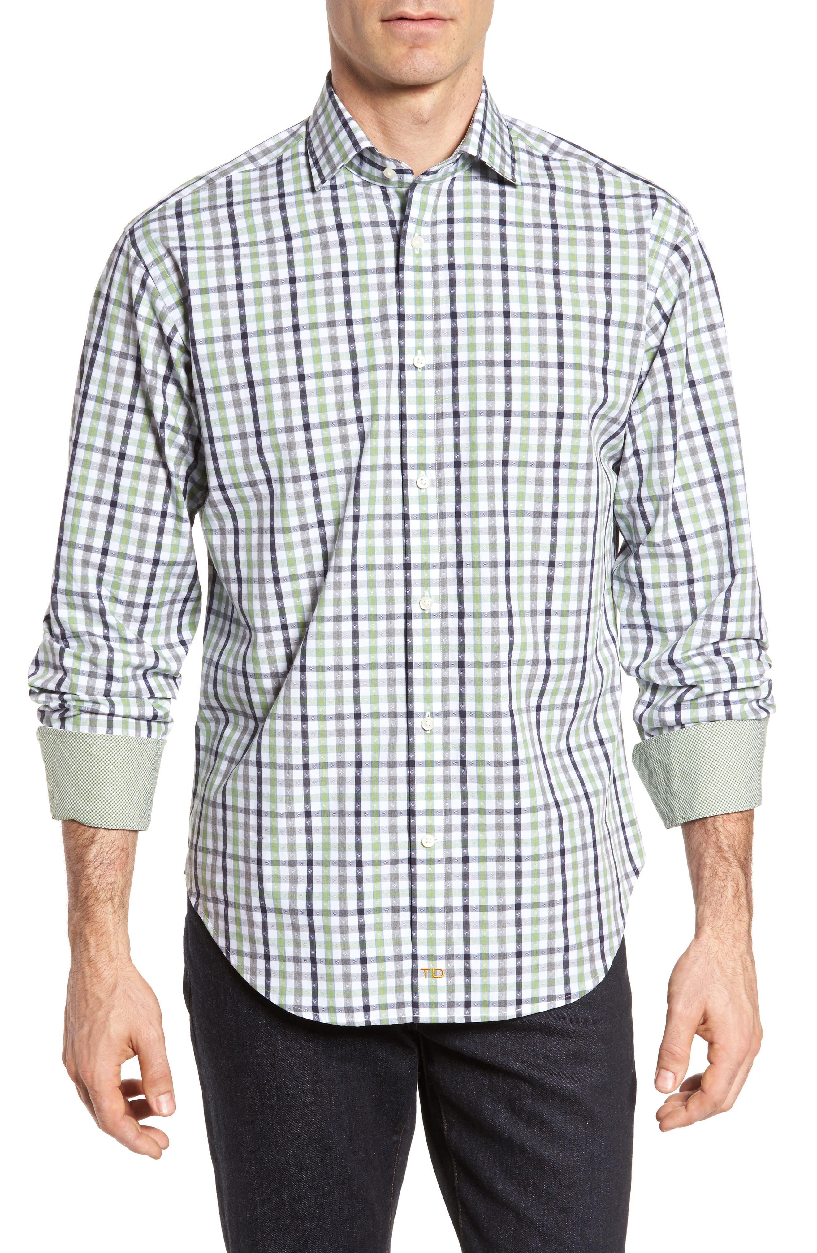 Plaid Sport Shirt,                         Main,                         color, Green