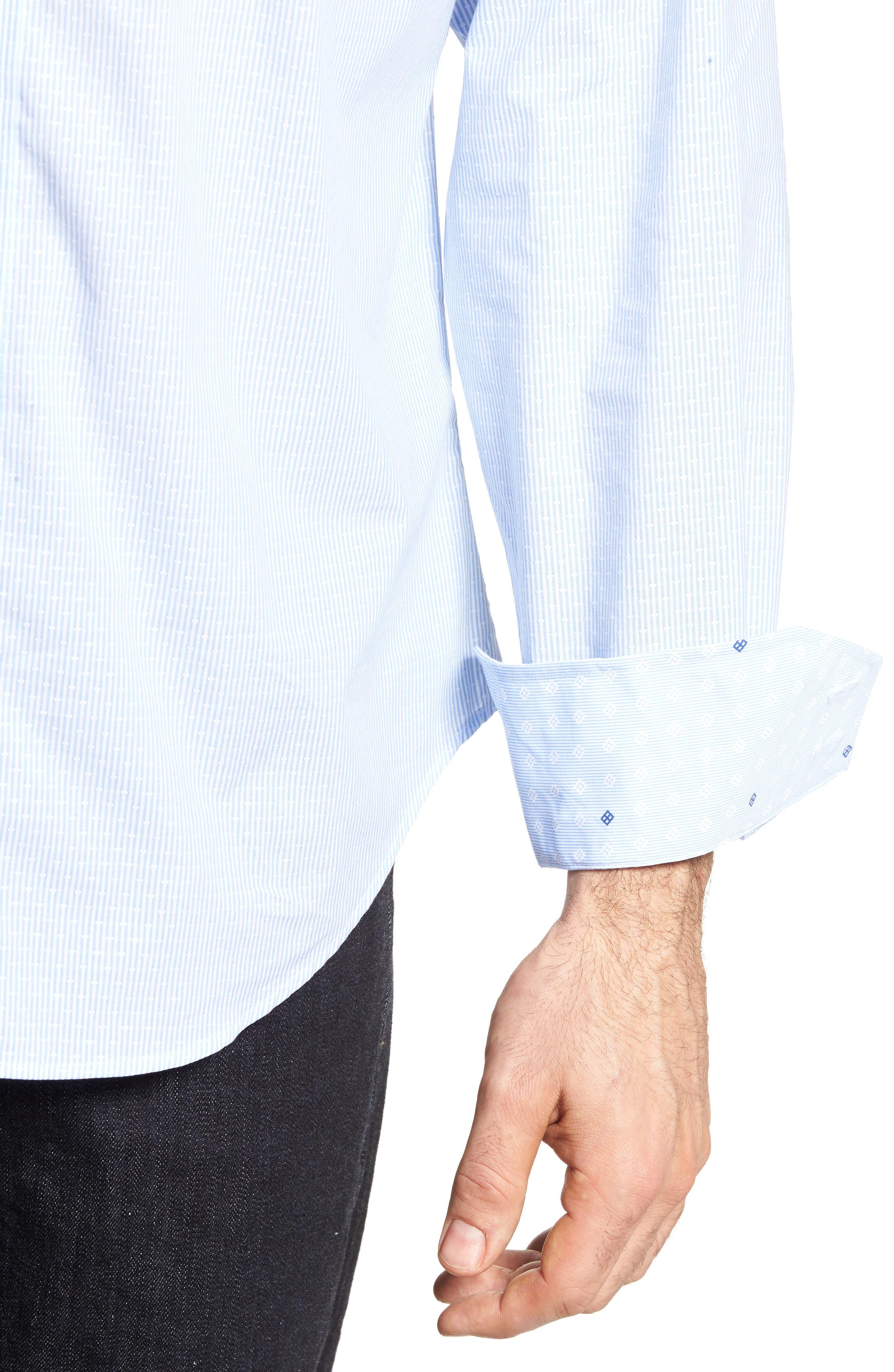 Regular Fit Stripe Sport Shirt,                             Alternate thumbnail 4, color,                             Blue