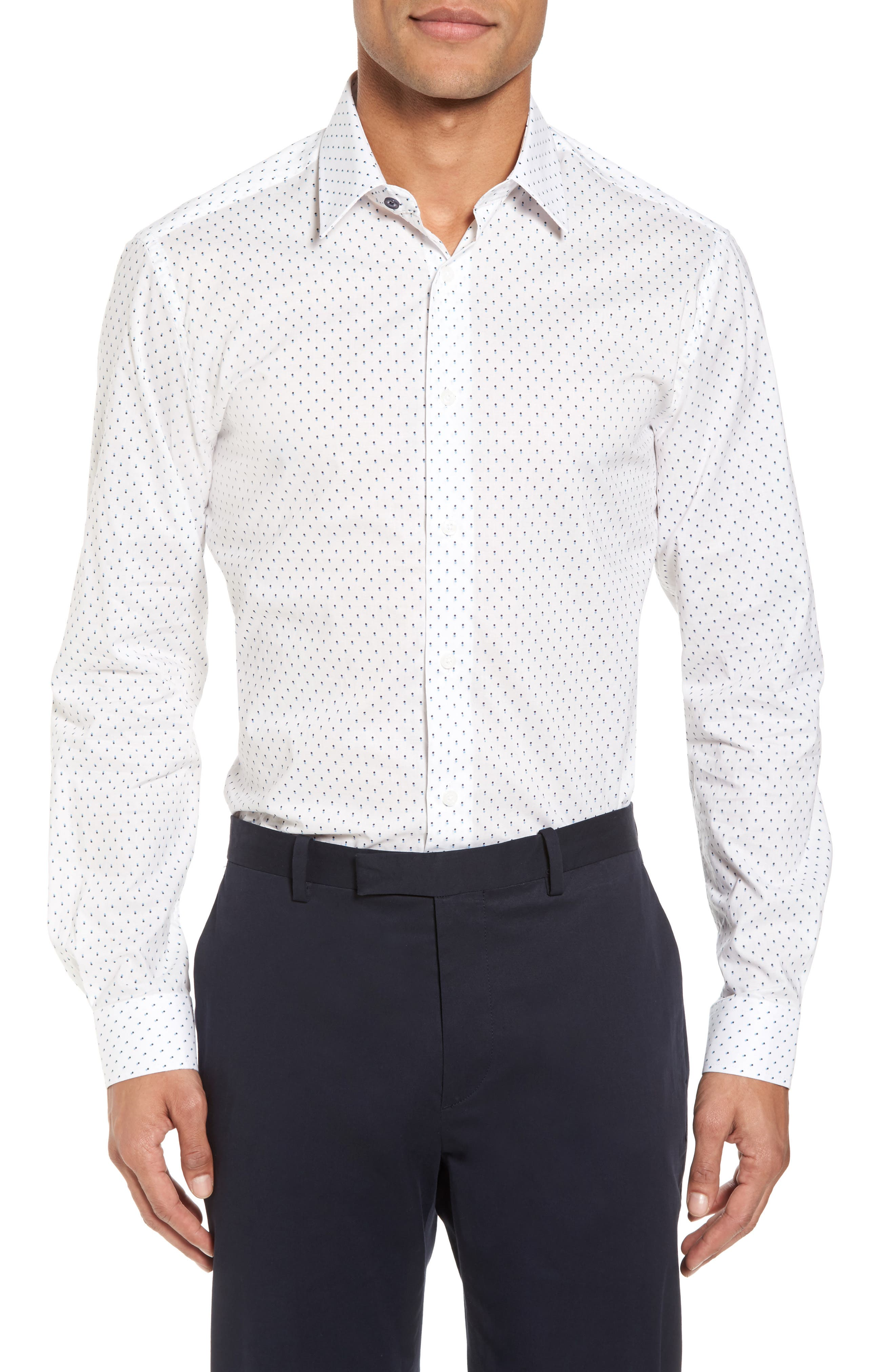 Trim Fit Dot Dress Shirt,                         Main,                         color, White