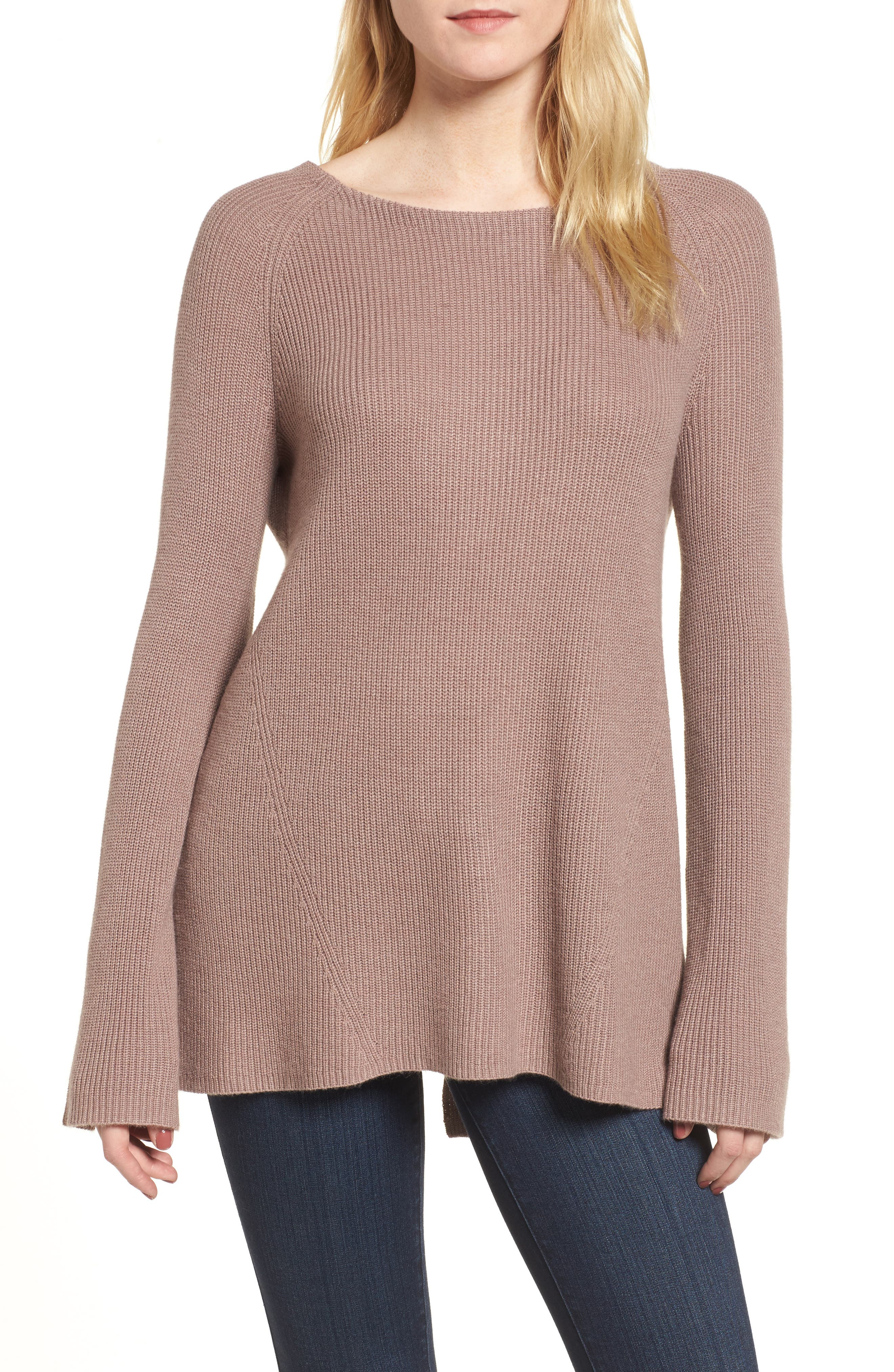 Flare Sleeve Open Back Sweater,                         Main,                         color, Pink Fawn Heather