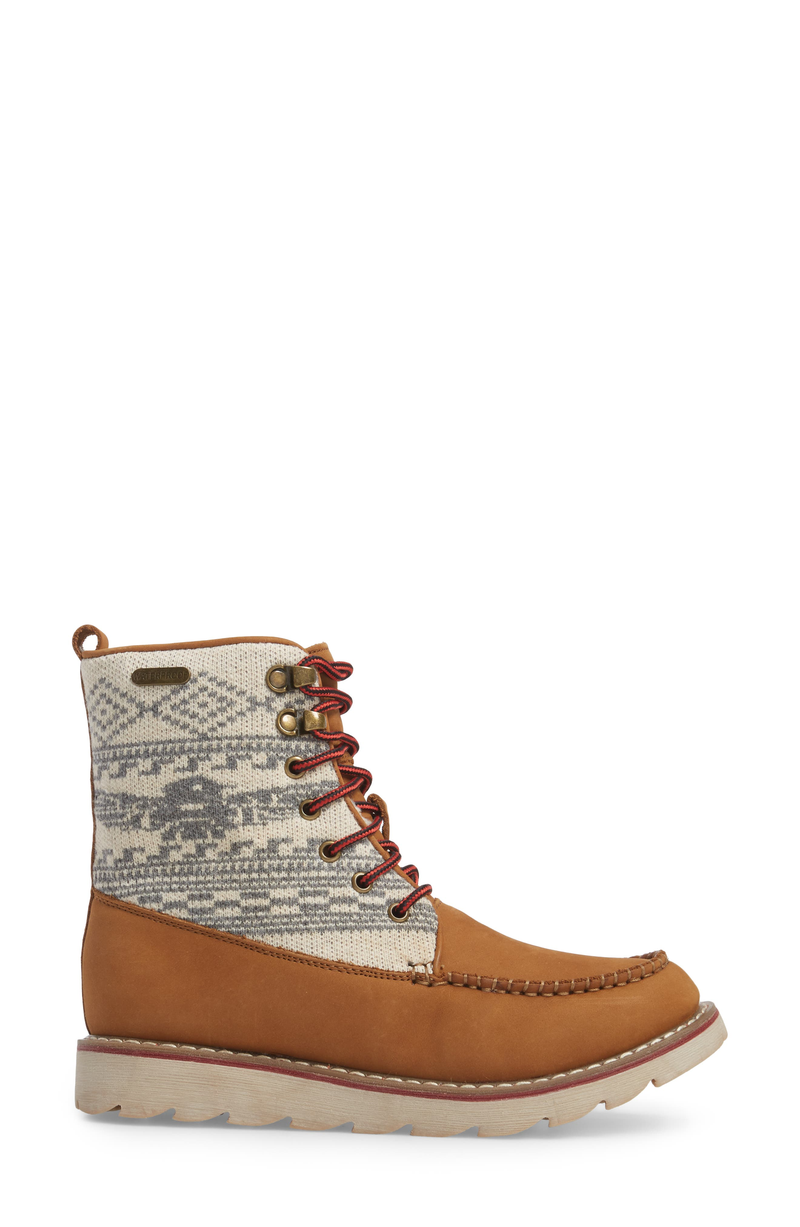 Patterned Waterproof Snow Boot,                             Alternate thumbnail 3, color,                             Tan Leather