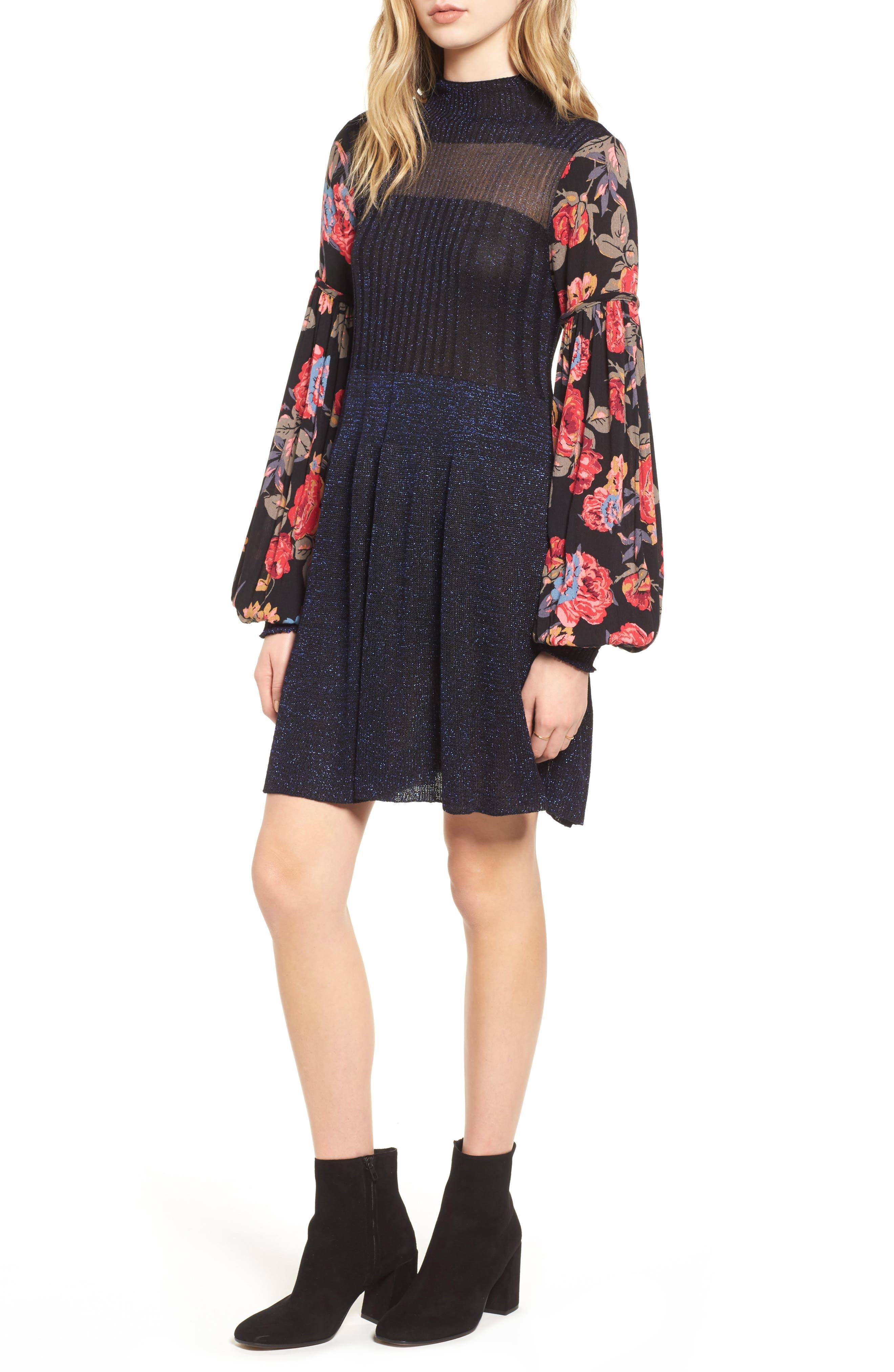 Rose & Shine Sweater Dress,                             Main thumbnail 1, color,                             Black Combo