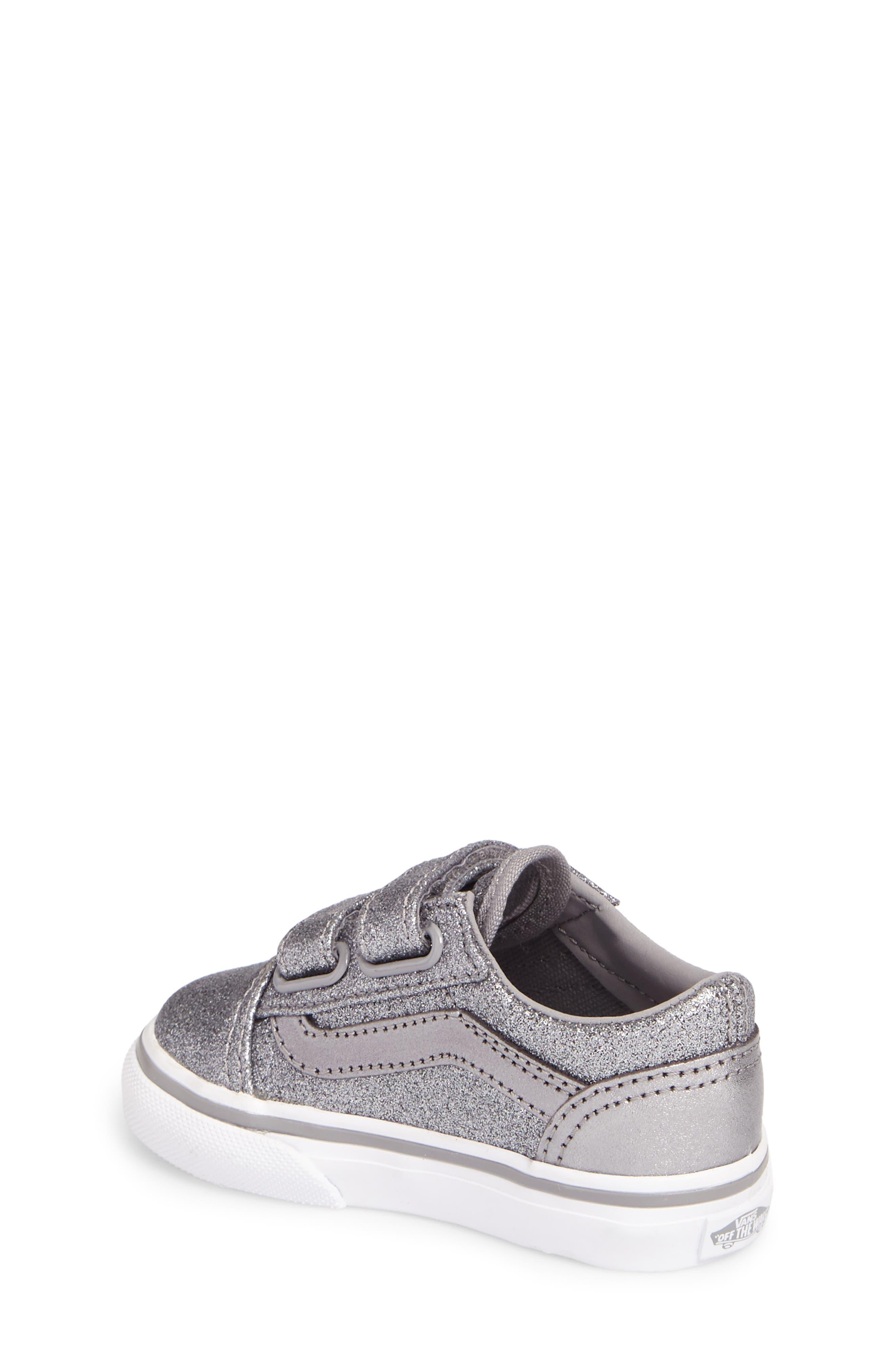 Old Skool V Glitter Sneaker,                             Alternate thumbnail 2, color,                             Glitter  Metallic Frost Gray