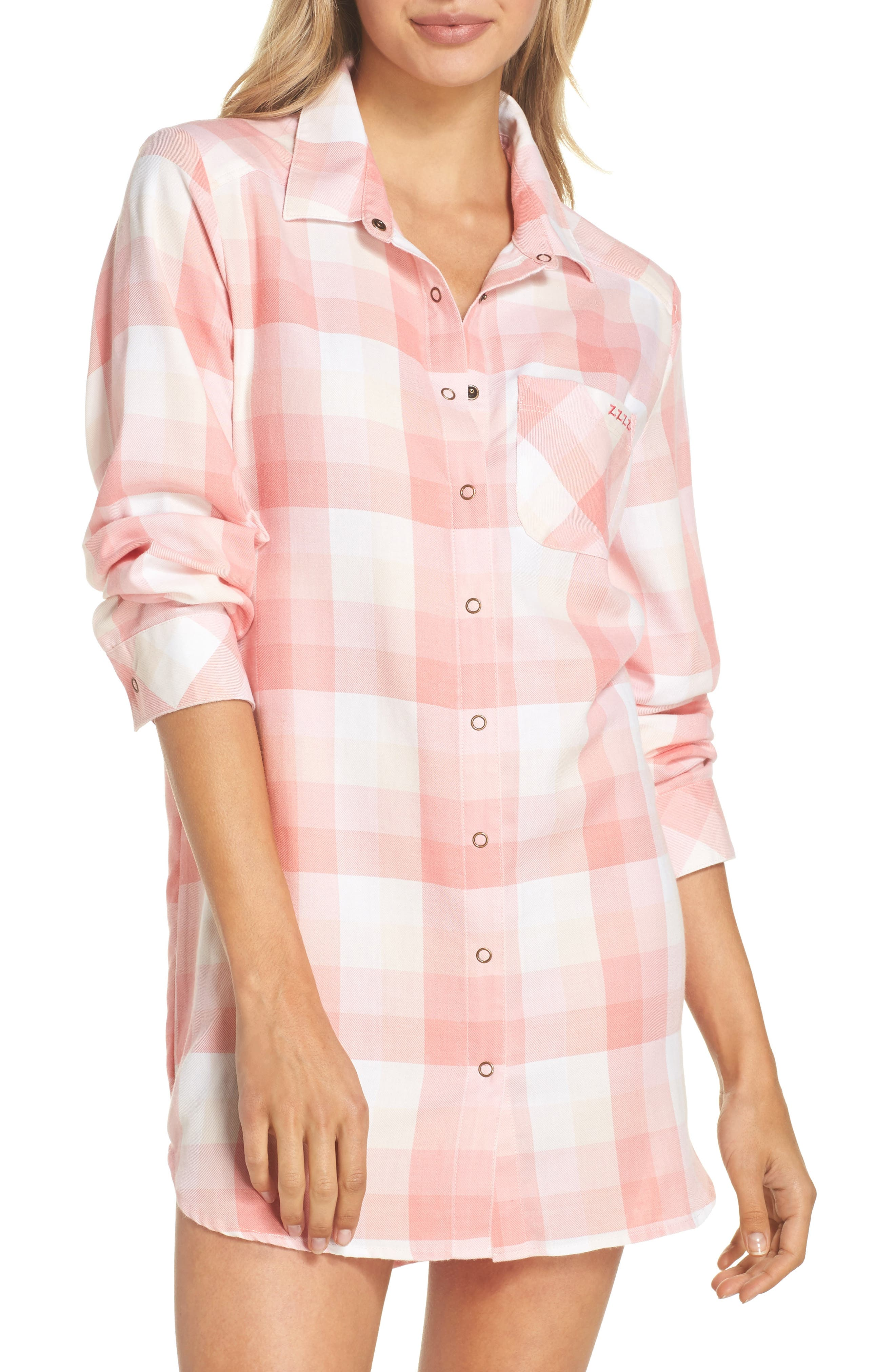 Plaid Nightshirt,                         Main,                         color, Pink Flamingo Laurn Plaid