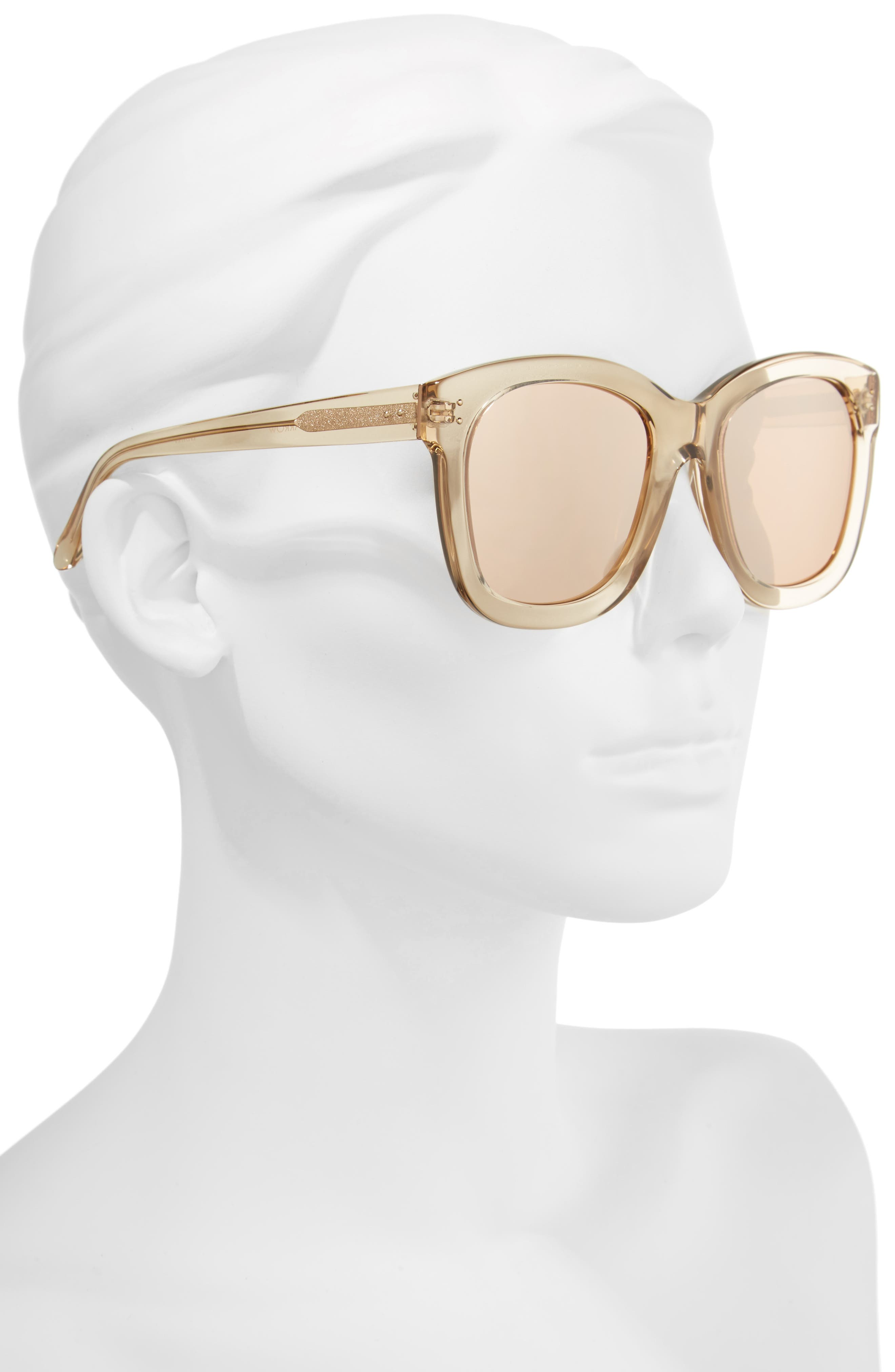 56mm Mirrored Sunglasses,                             Alternate thumbnail 2, color,                             Ash/ Rose Gold