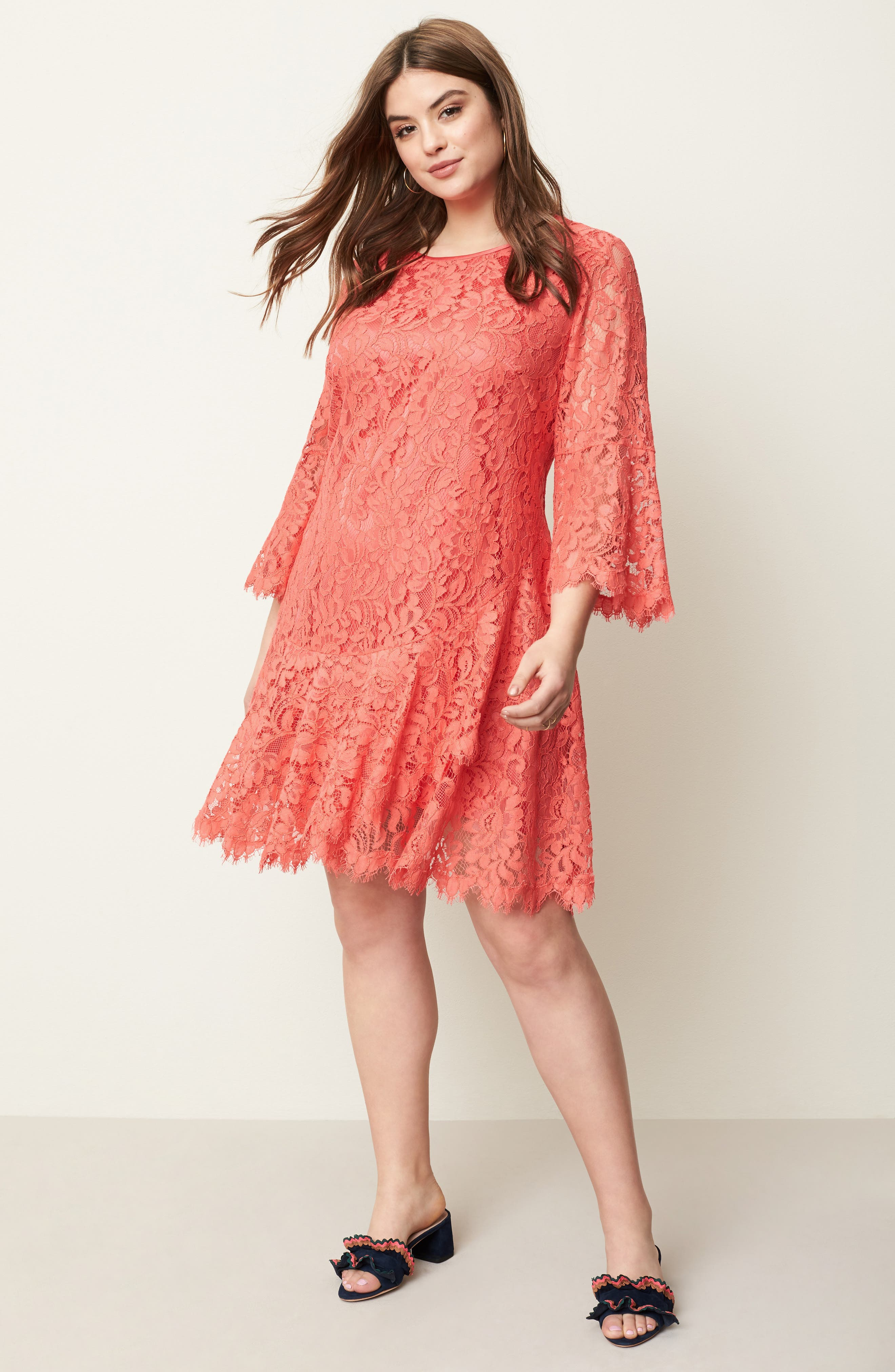 Bell Sleeve Lace Shift Dress,                             Alternate thumbnail 7, color,                             Coral