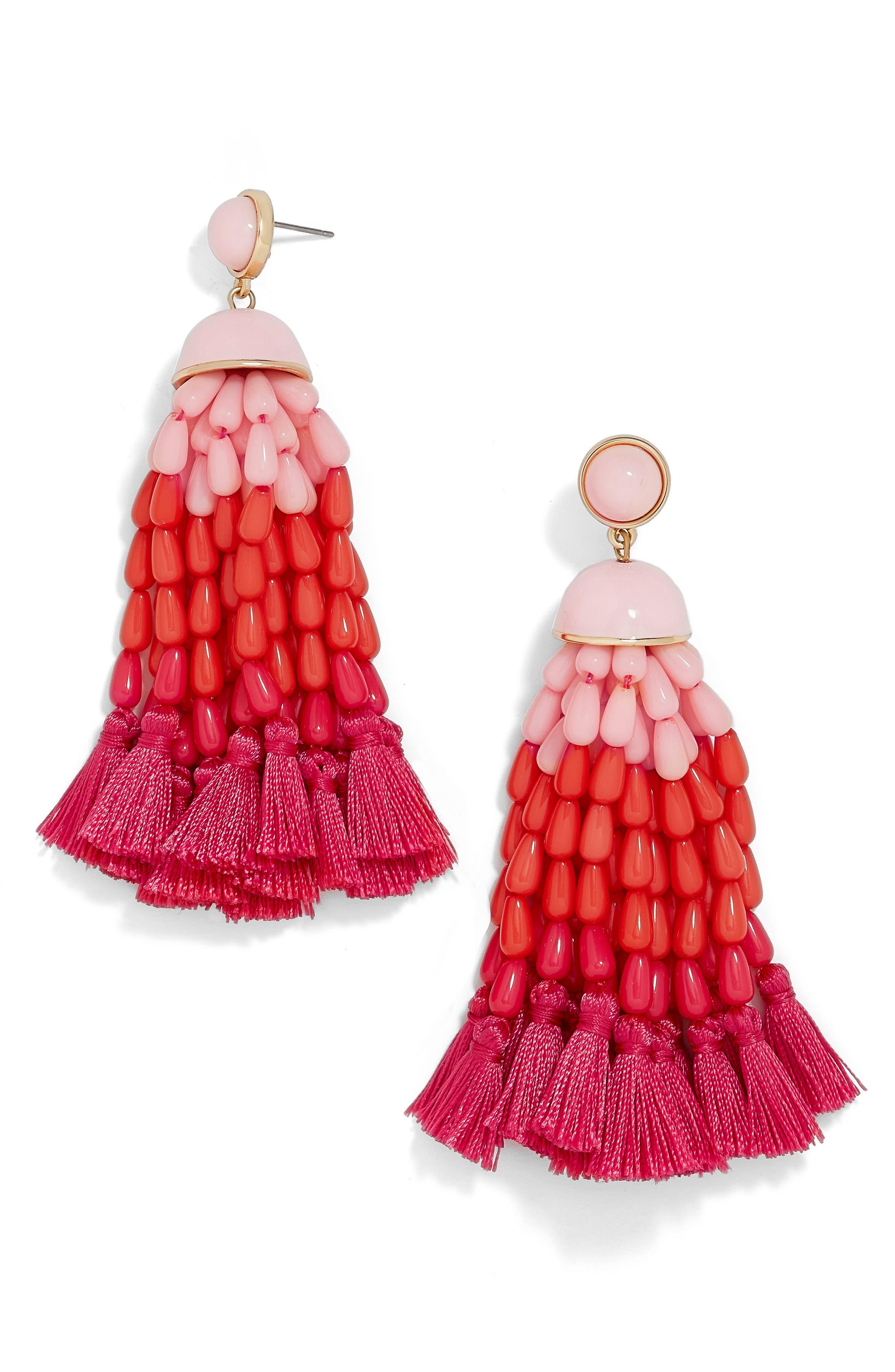 Margarita Beaded Tassel Earrings,                         Main,                         color, Coral Ombre