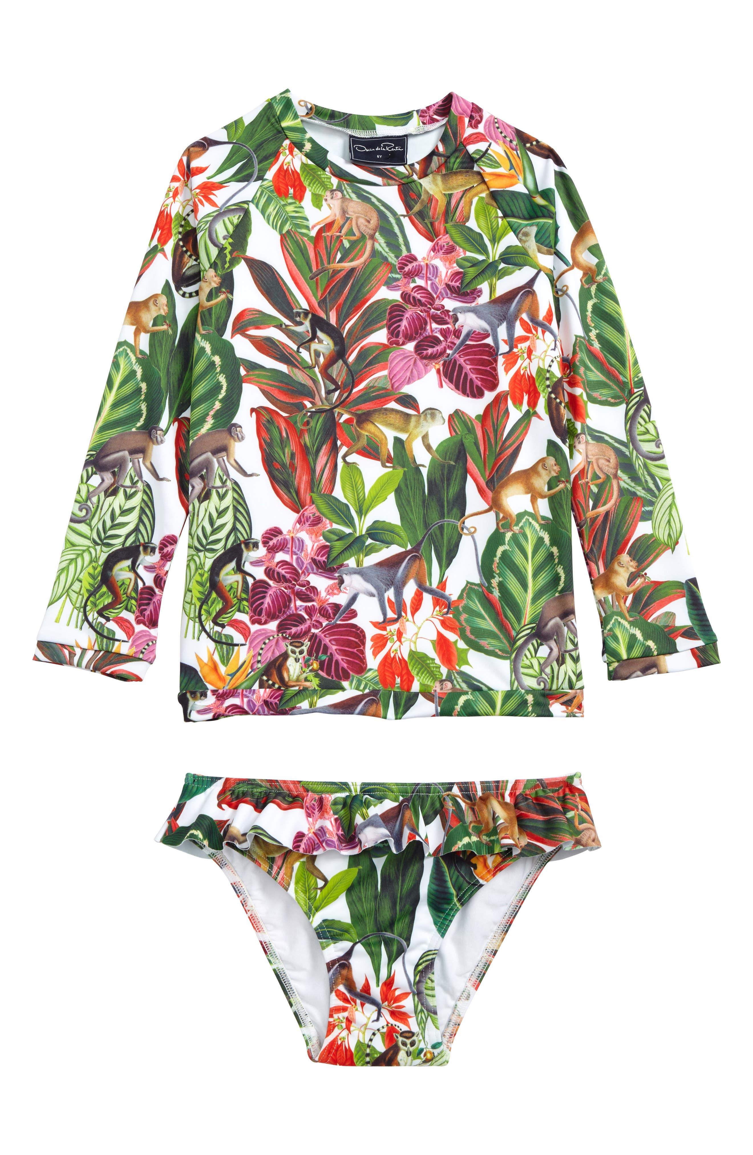 Main Image - Oscar de la Renta Jungle Monkeys Two-Piece Rashguard Swimsuit (Toddler Girls, Little Girls & Big Girls)