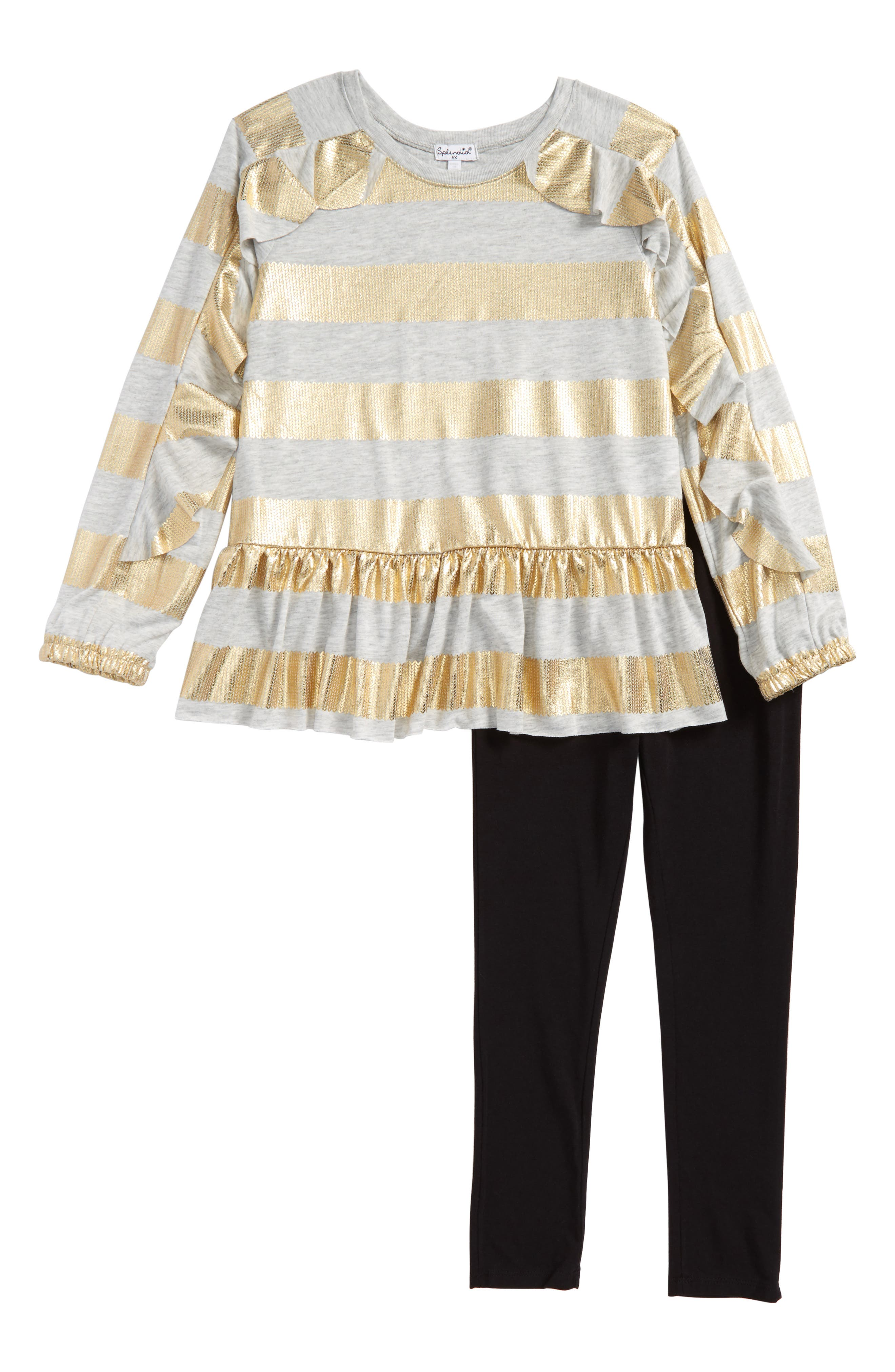 Splendid Foil Stripe Tee & Leggings Set (Toddler Girls & Little Girls)