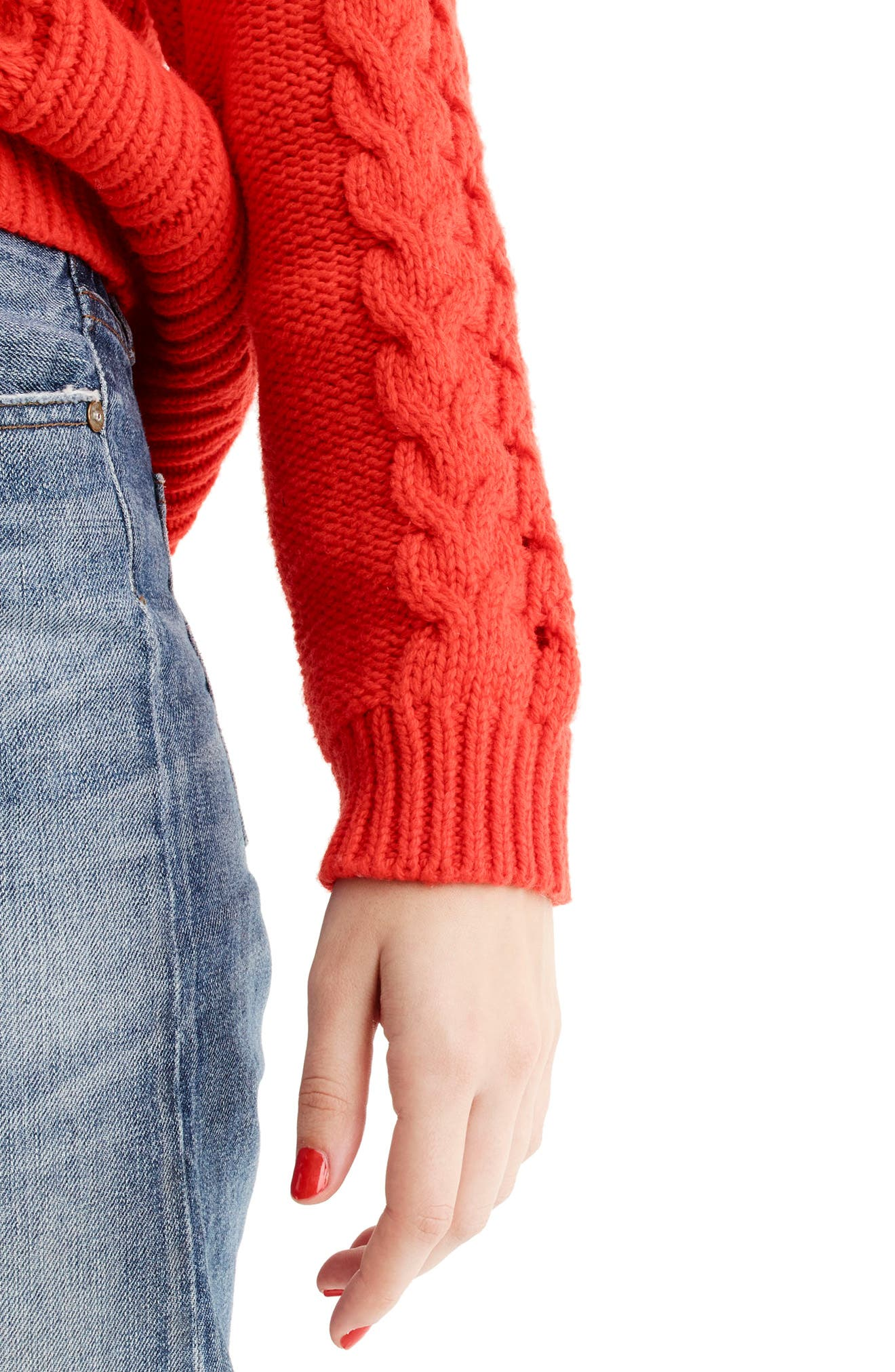 Alternate Image 3  - J.Crew Cable Knit Mock Neck Sweater