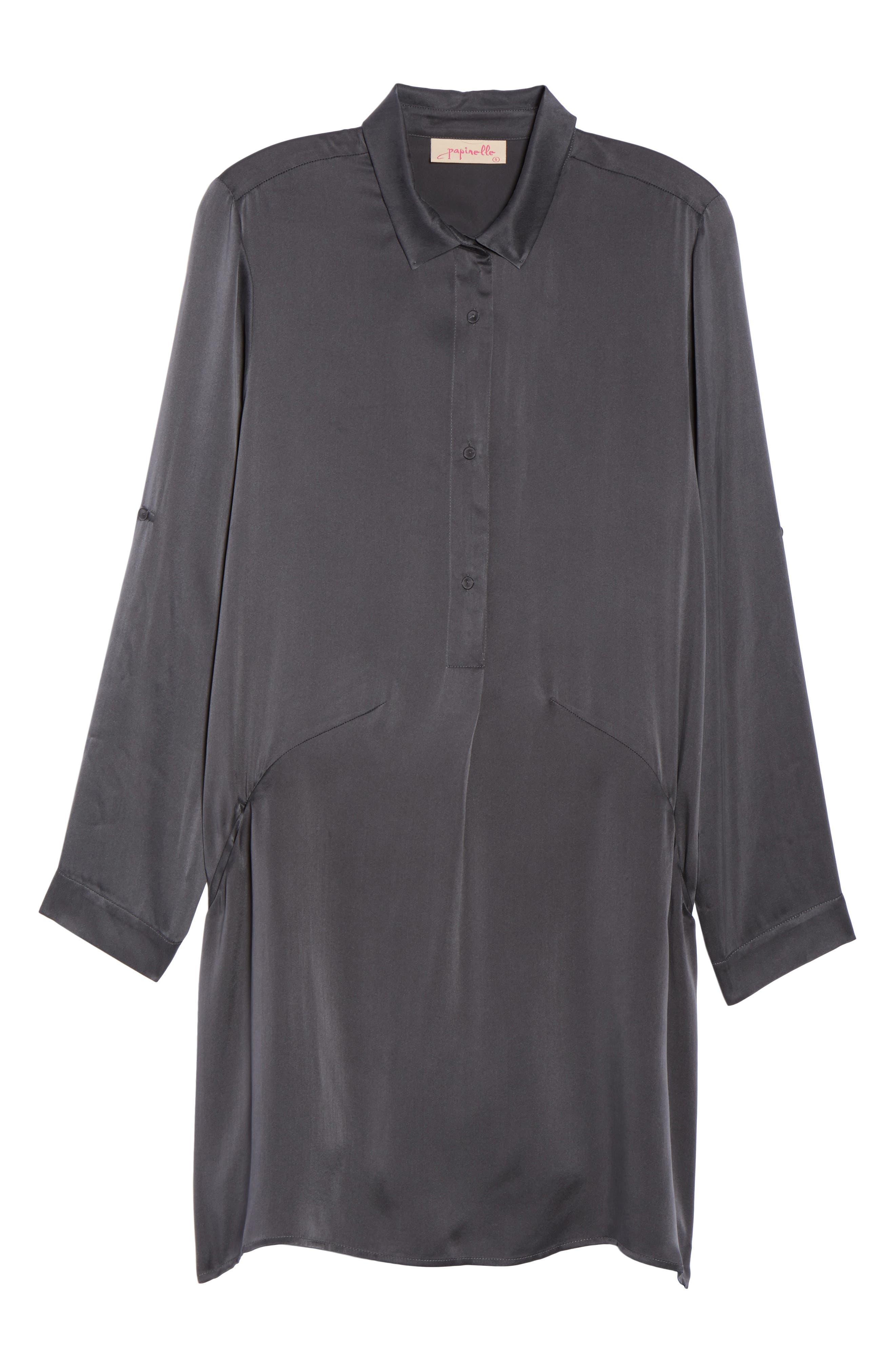 Silk Sleep Shirt,                             Alternate thumbnail 4, color,                             Dark Slate