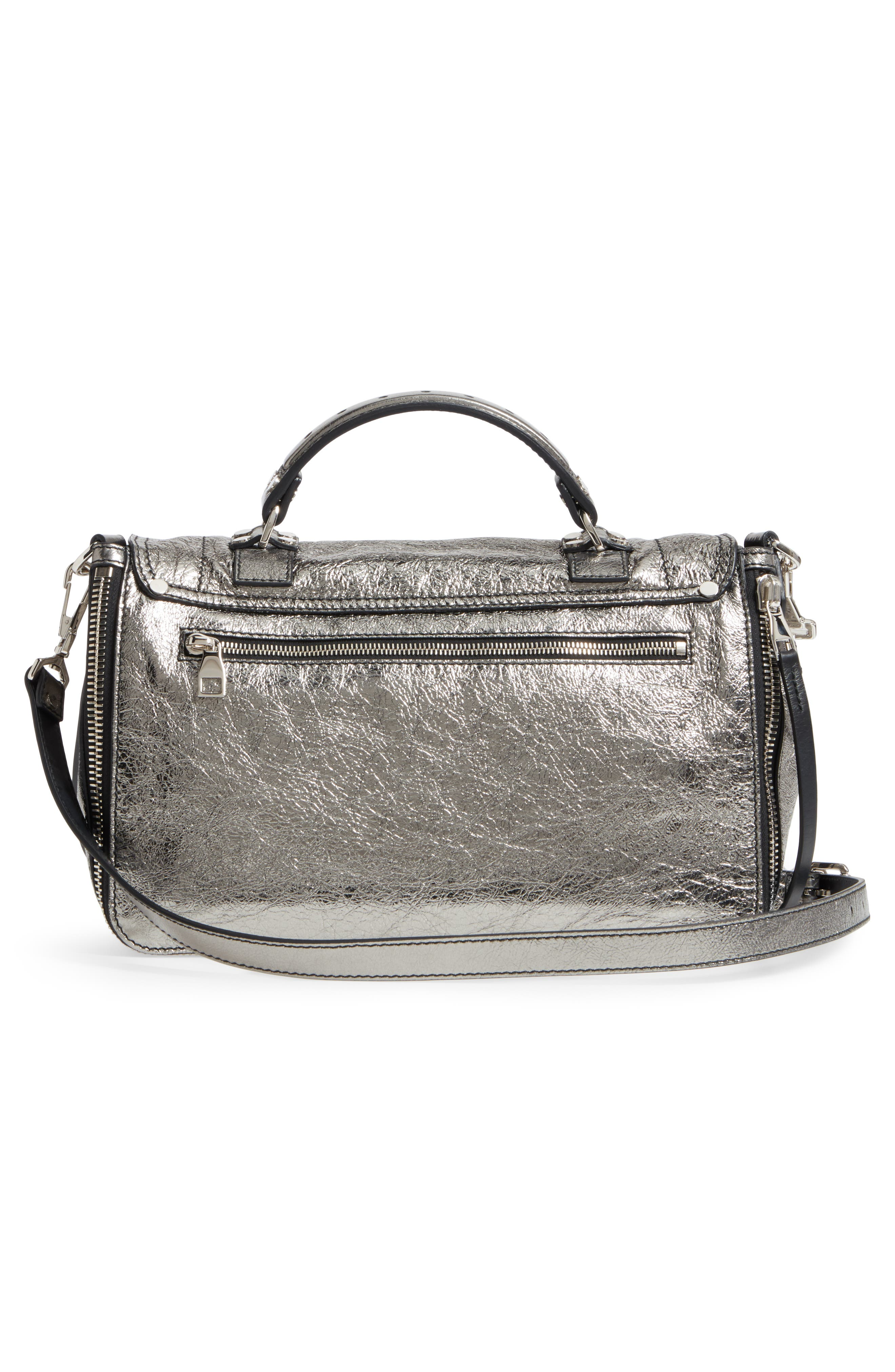 Medium PS1 Metallic Calfskin Satchel,                             Alternate thumbnail 3, color,                             Dark Silver