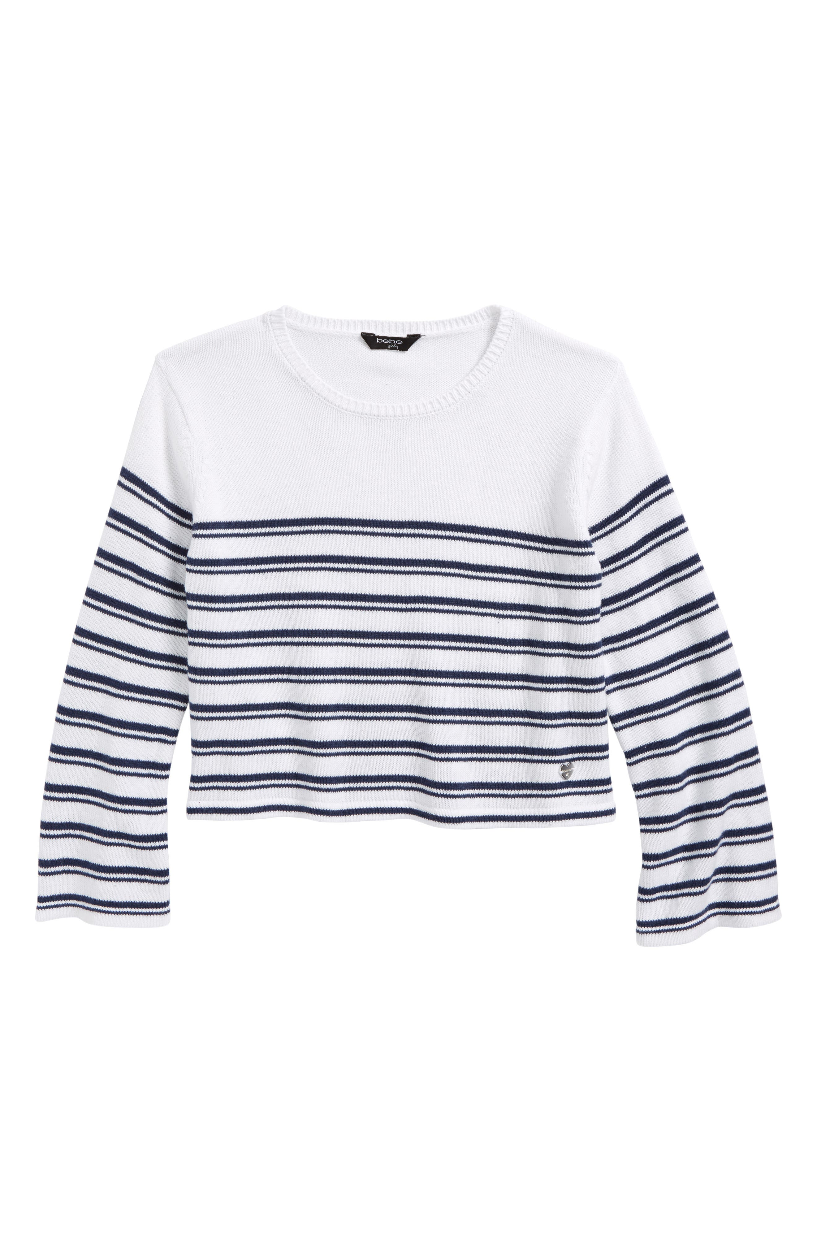bebe Stripe Cotton Sweater (Big Girls)