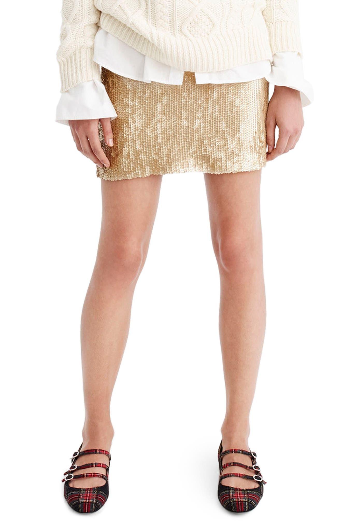 Sequin Miniskirt,                         Main,                         color, Matte Champagne