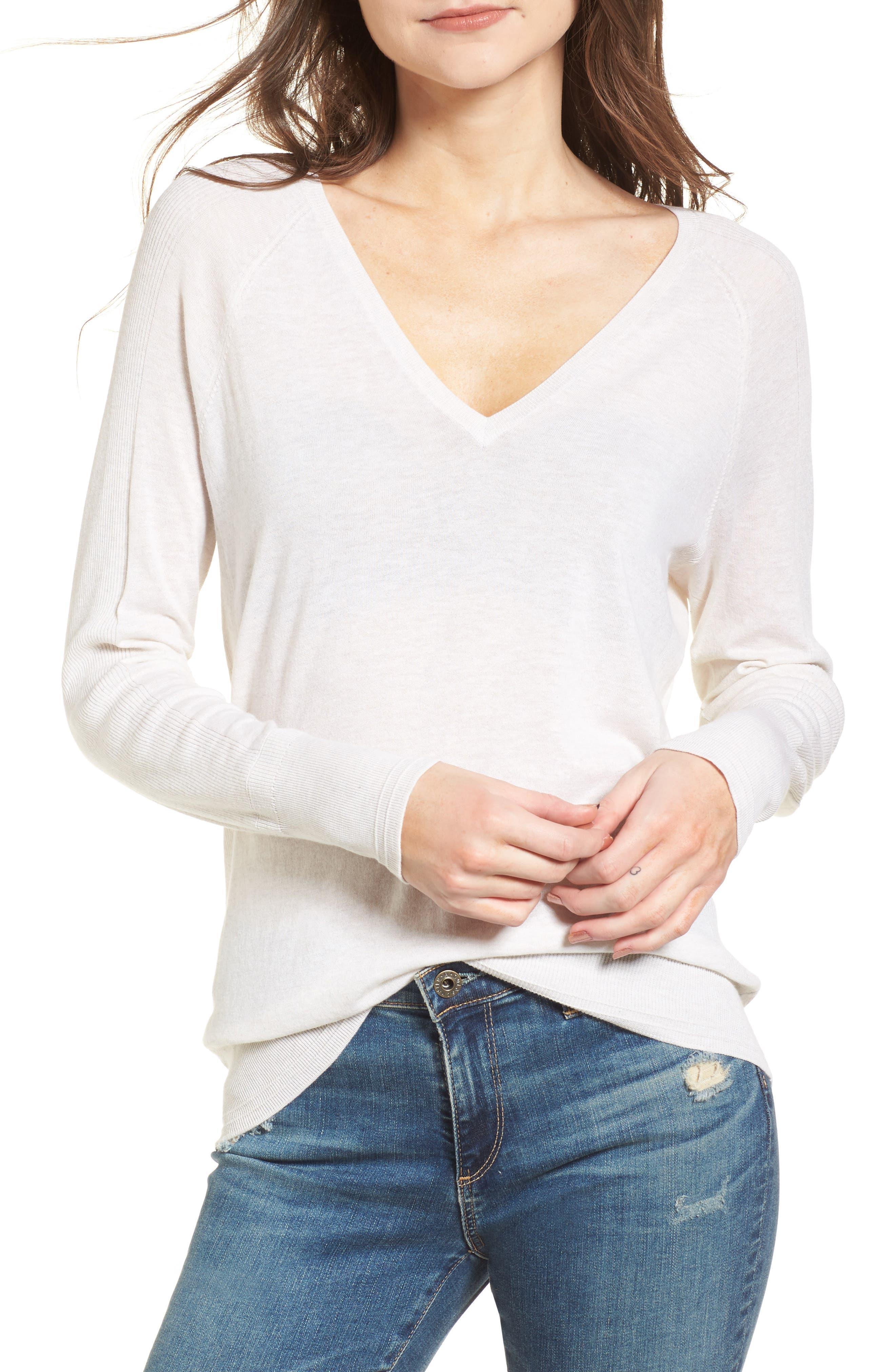 Deep V-Neck Sweater,                             Main thumbnail 1, color,                             Heather Cream