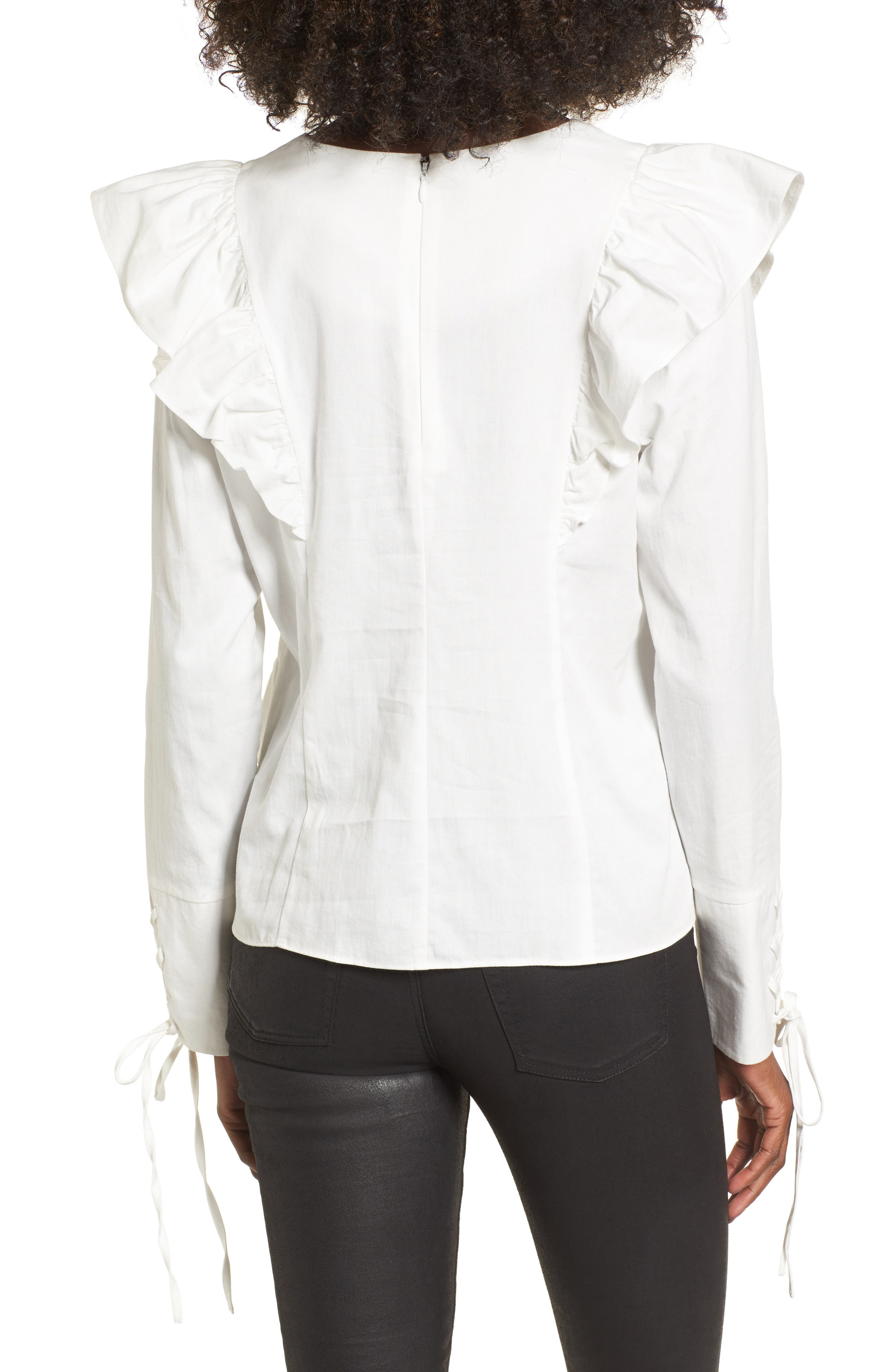Ruffle Front Top,                             Alternate thumbnail 2, color,                             White